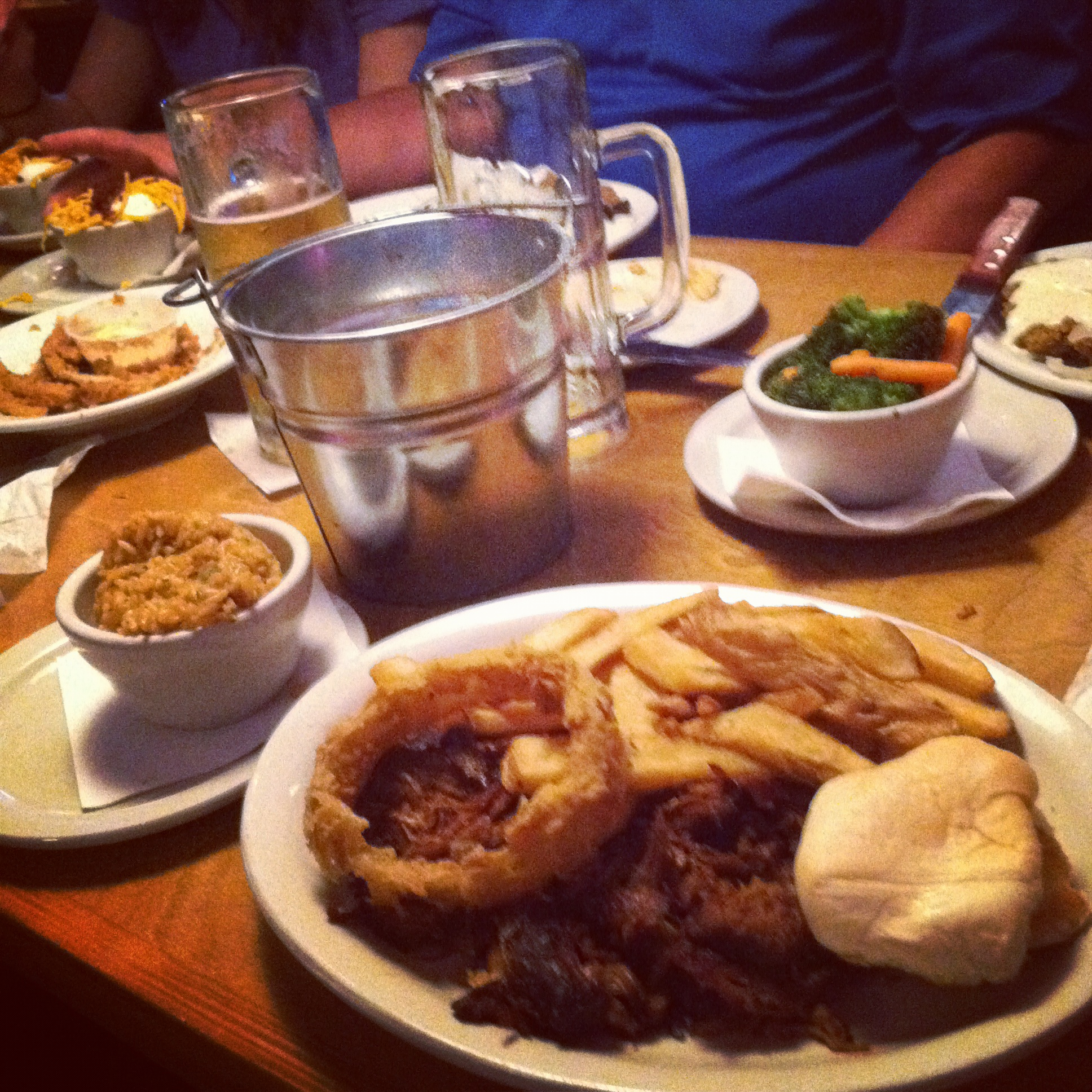 A meal I had (the closest plate to the camera) at Texas Roadhouse about four years back.