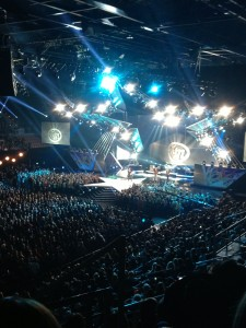 Kip Moore performing during the ACA's.