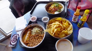 A shot of the food we ordered! Tons of chips.