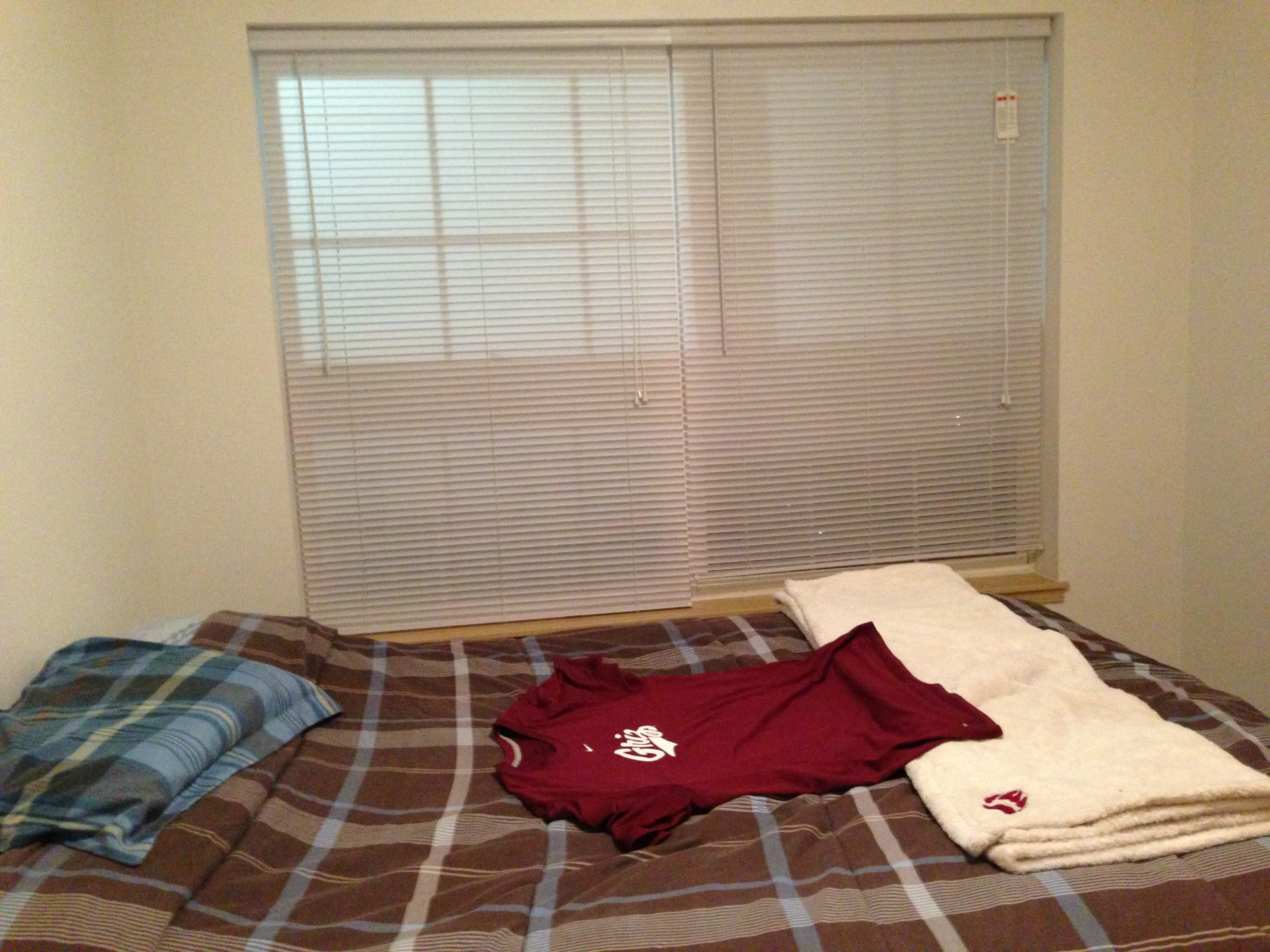My bed in relation to the window where I could hear the loud chatter.