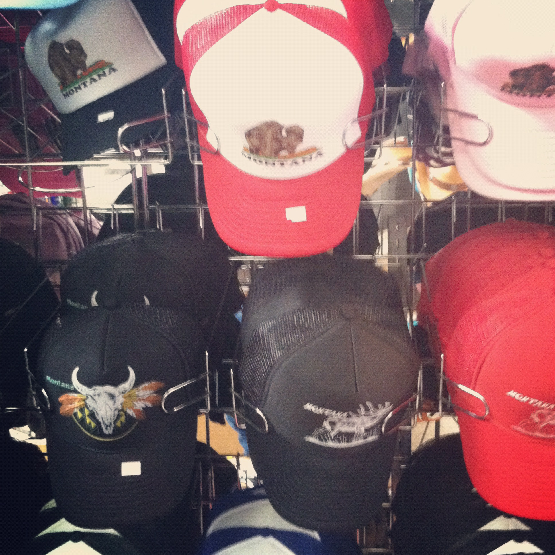 A selection of the hats they offer. I actually really dig some of these....I even bought one!