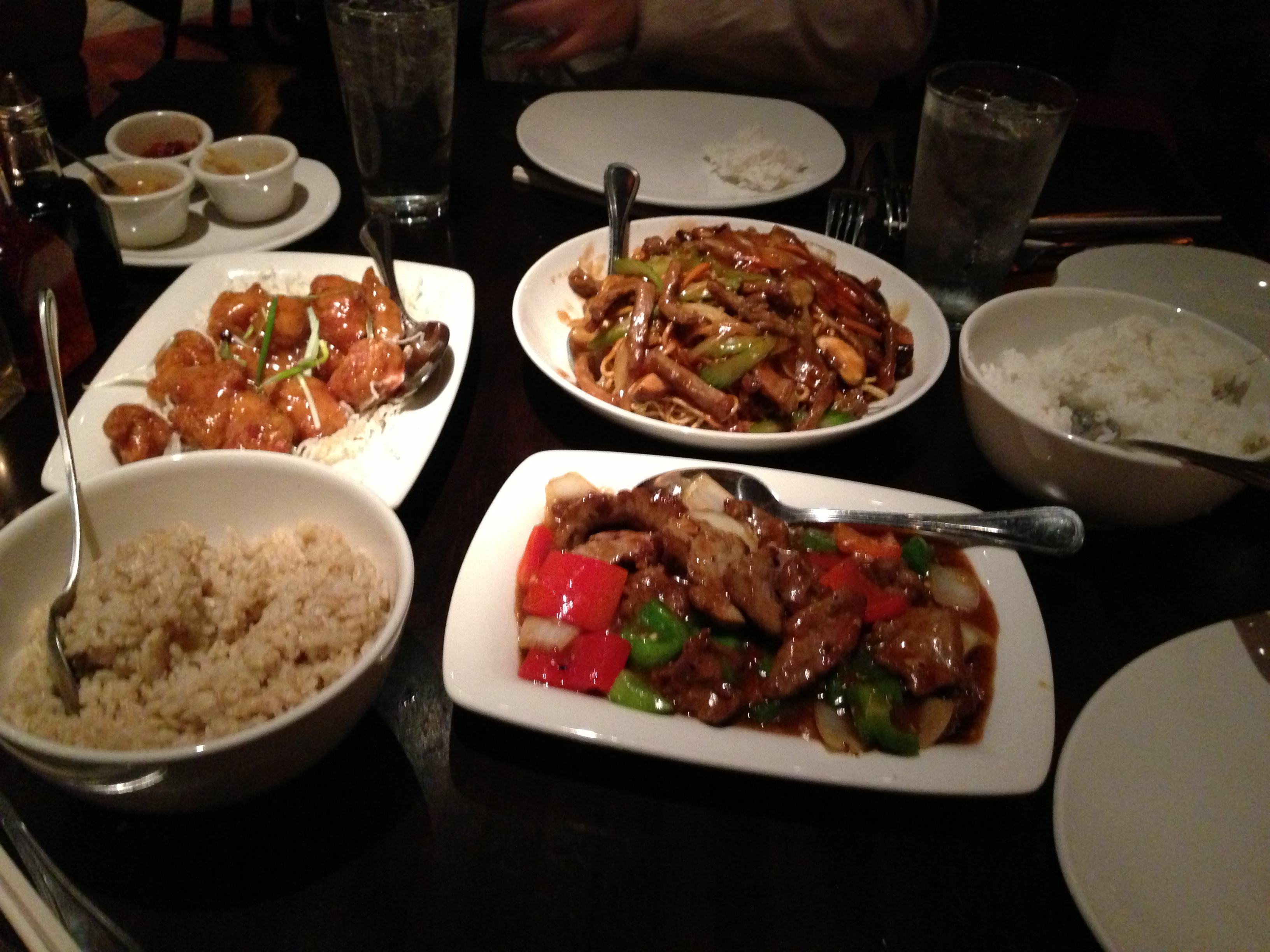 The entrees and rice we got during a visit in February.