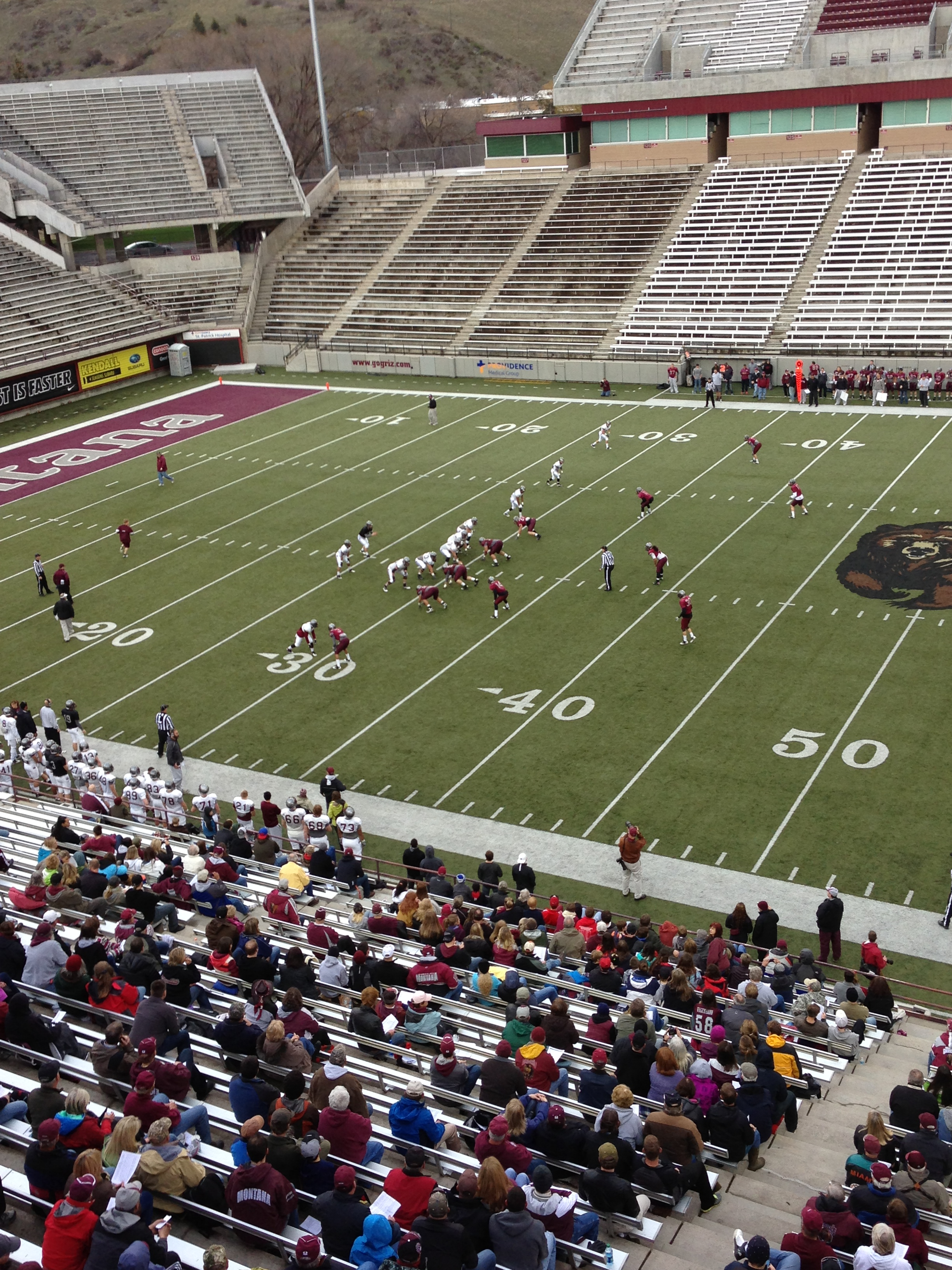 A view from the Washington-Grizzly Stadium press box of the scrimmage.