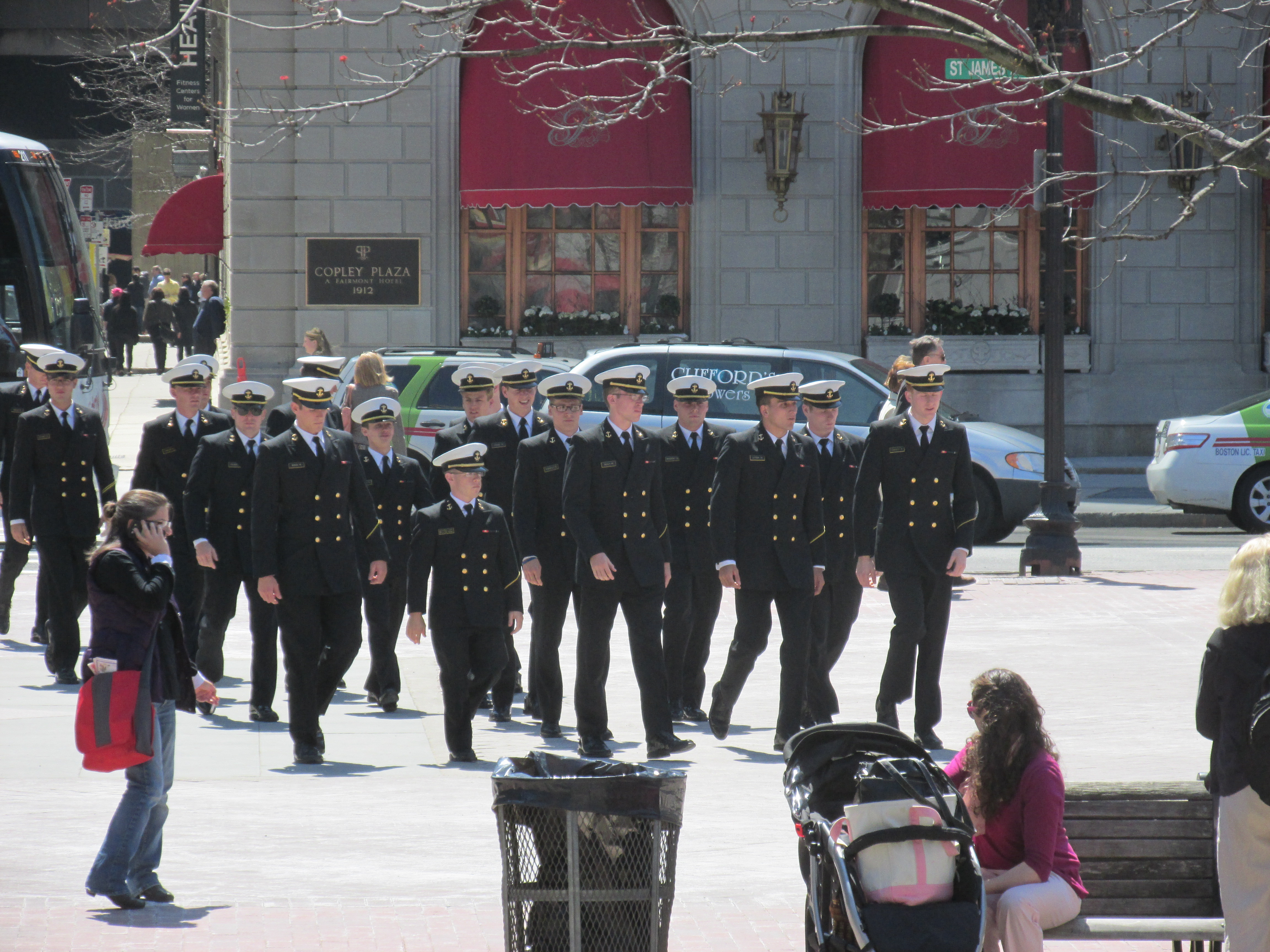 The Naval Academy marches to the Boston Marathon Memorial.