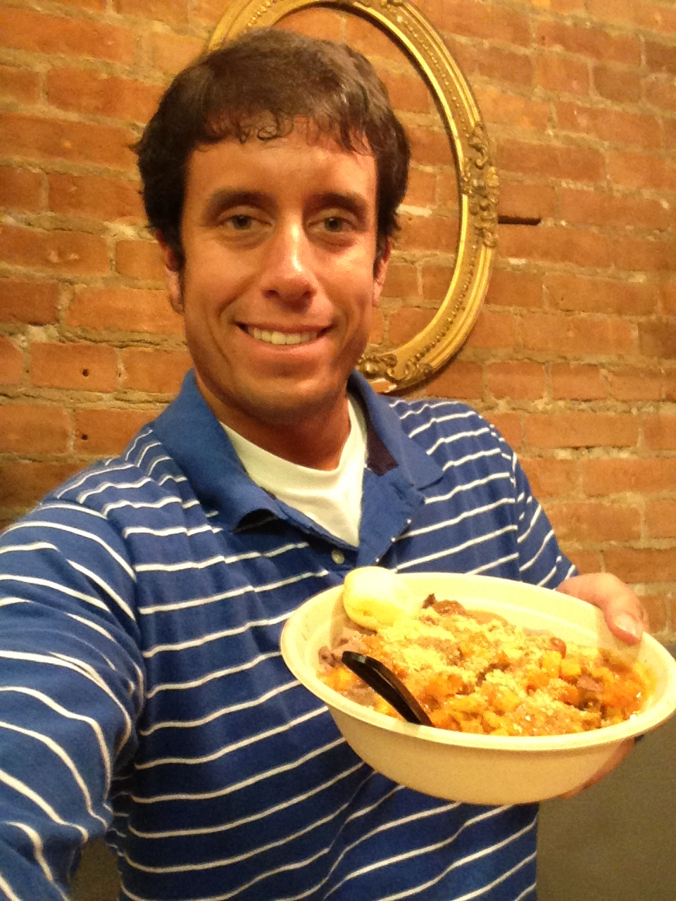 I was a happy guy with my big bowl of Brazilian food.