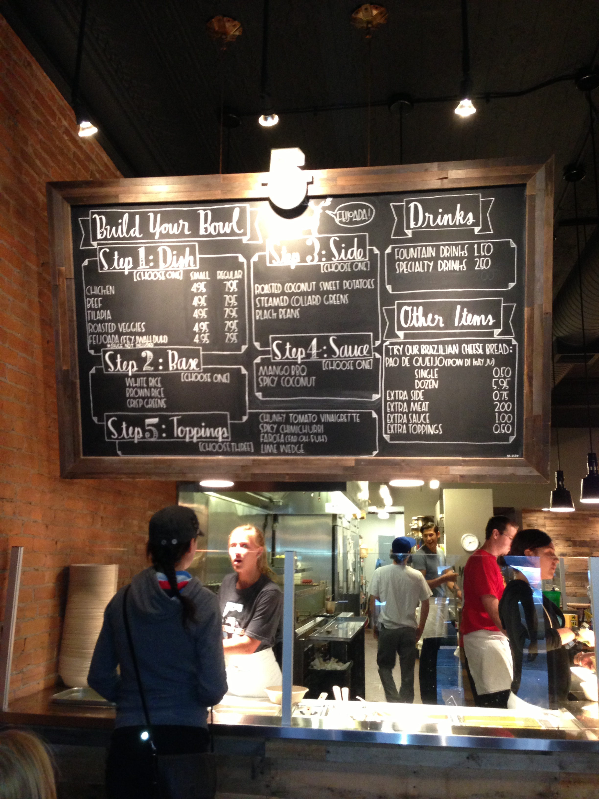 The Five On Black menu is depicted on a chalkboard.