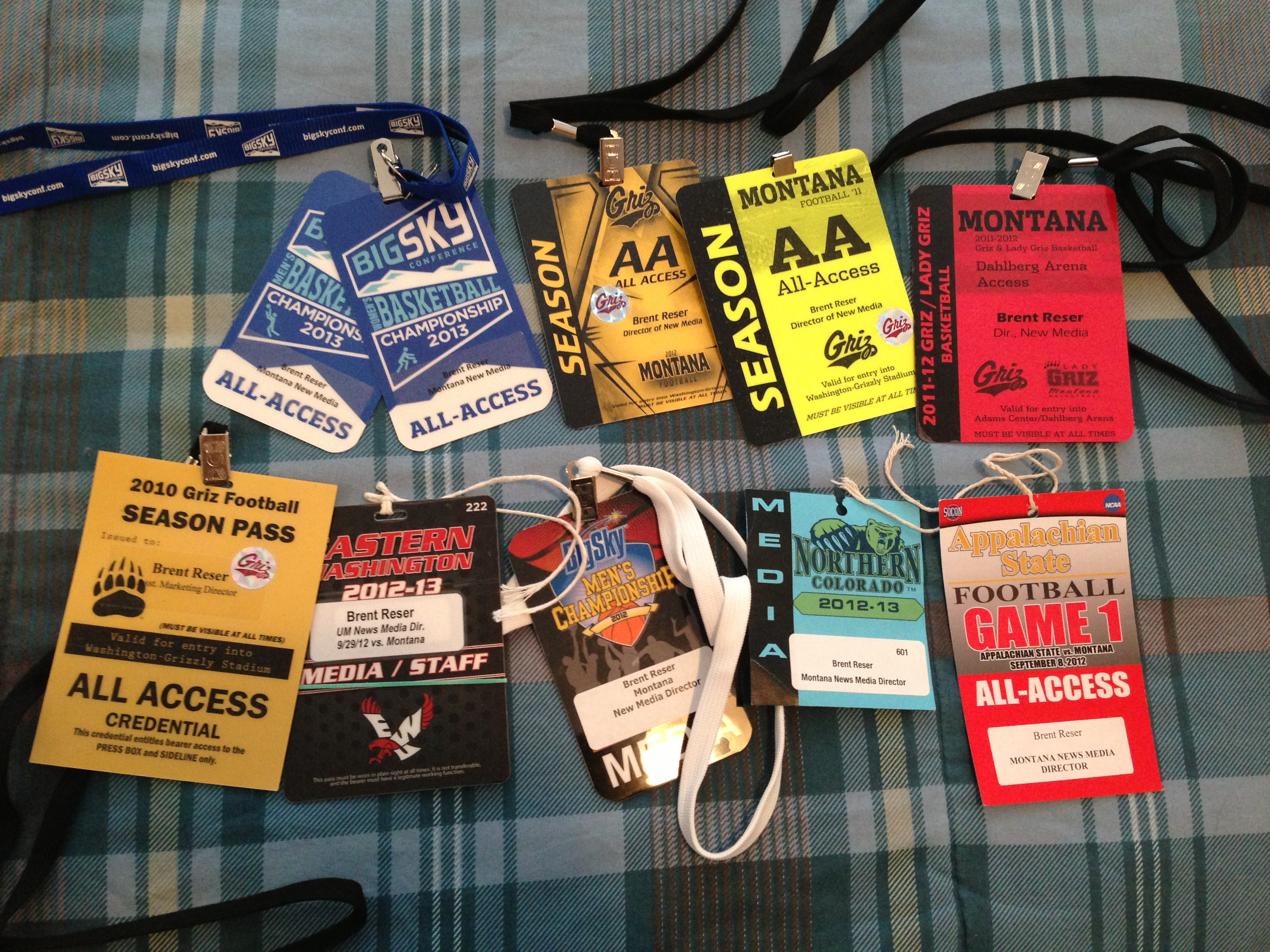 A few of my credentials I happened to have around my place.