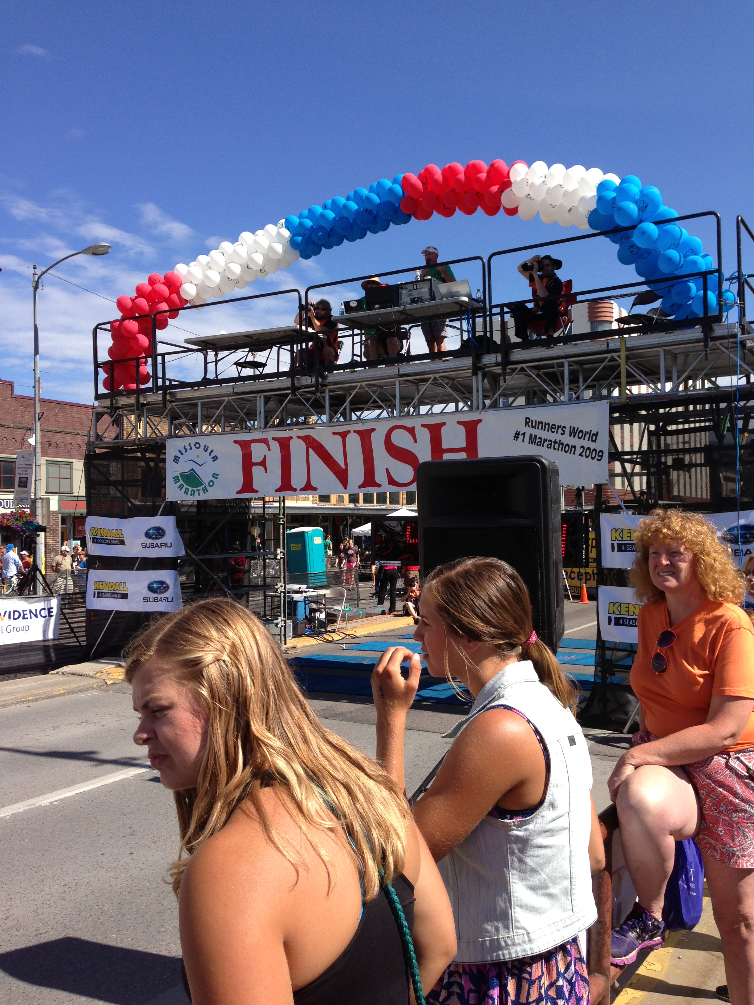 We camped out right at the finish line of the Missoula Marathon.