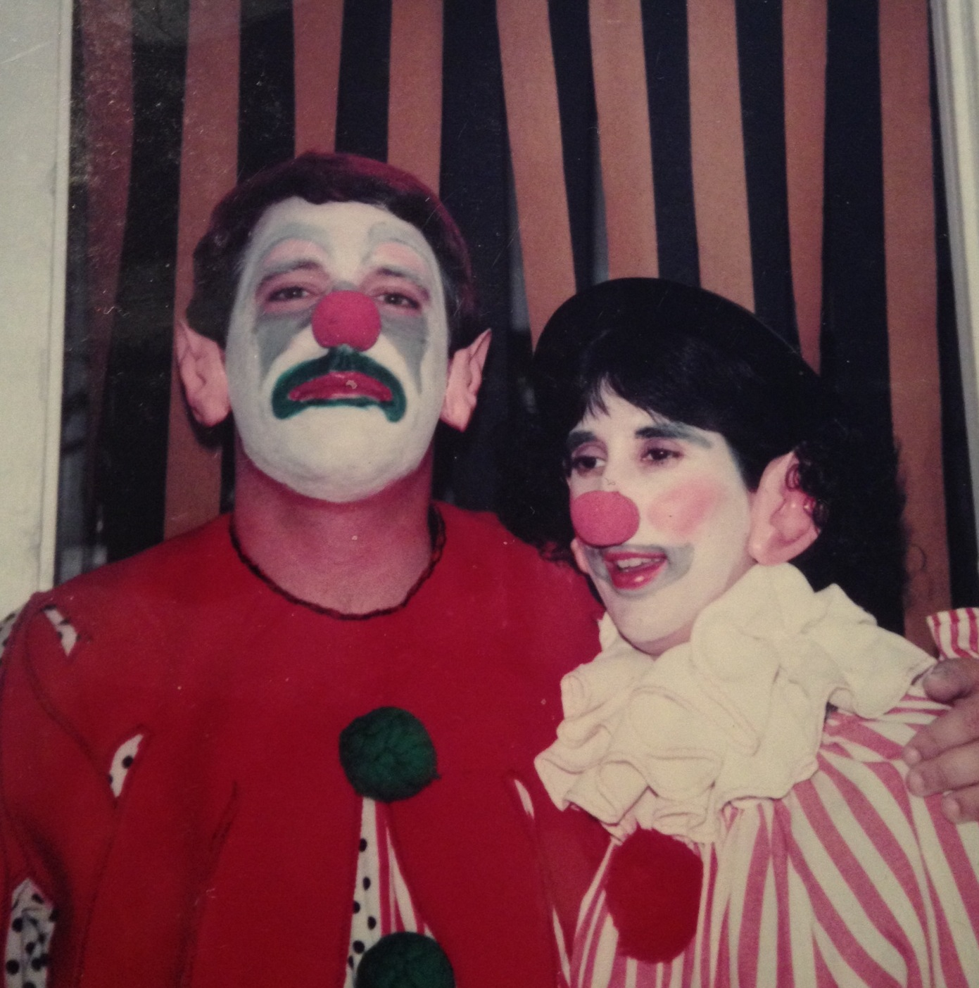 My parents and I clowning around during Halloween.