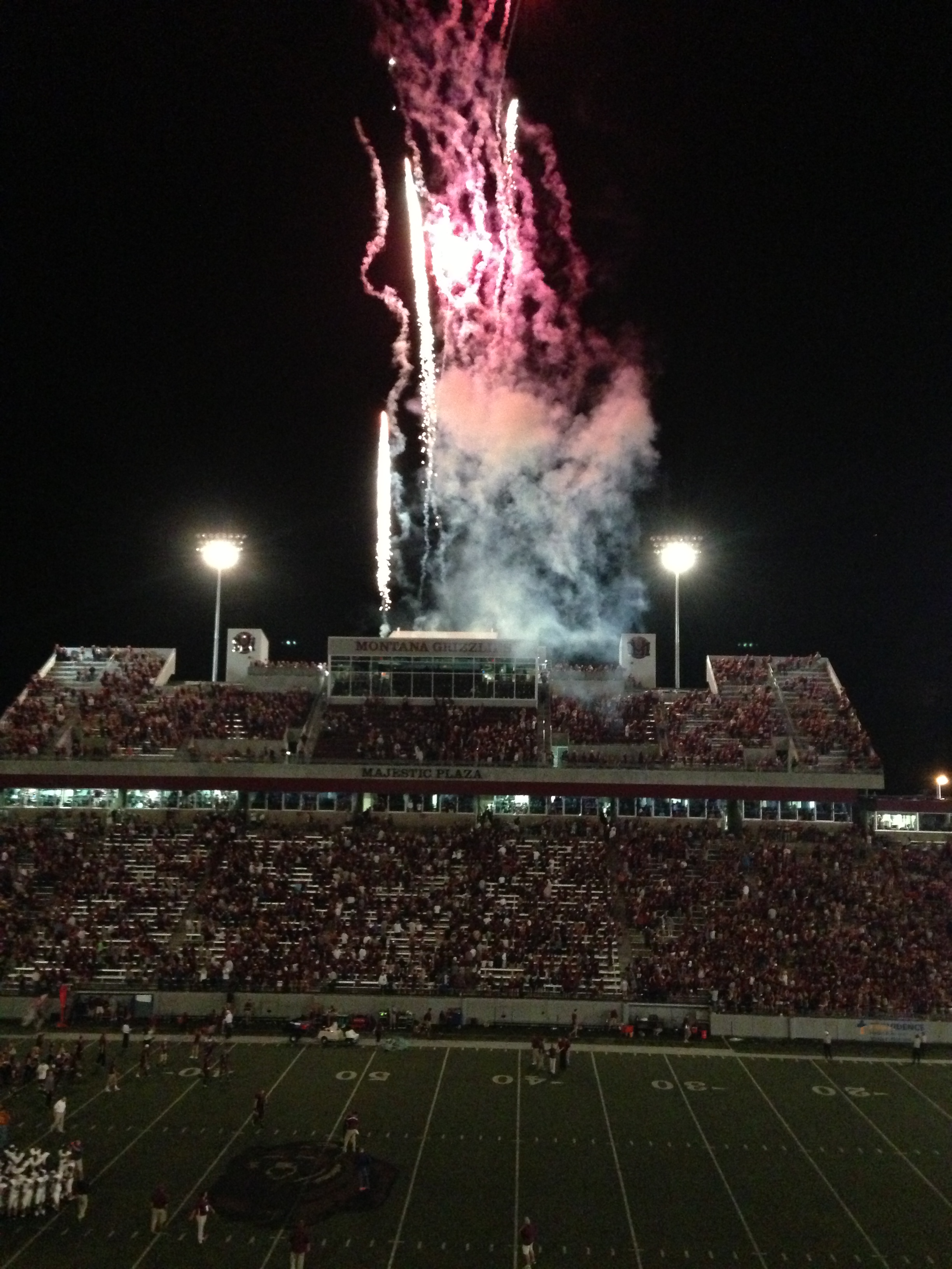 Fireworks lit up the sky after the Griz victory.