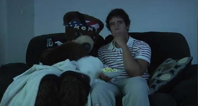 A scene where Monte and I watched a tear-jerker movie together.