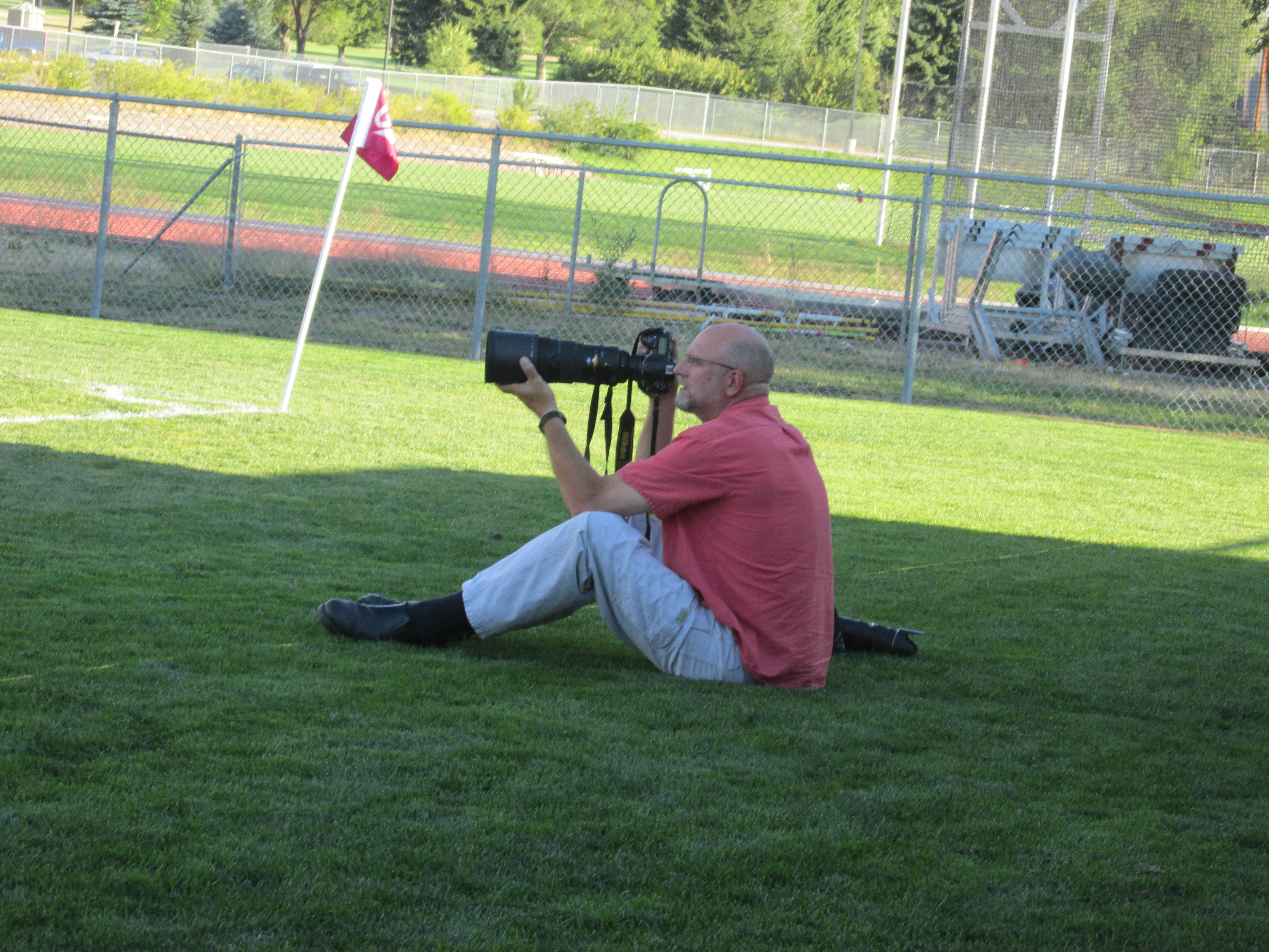 University of Montana photographer Todd Goodrich at today's Griz soccer game.