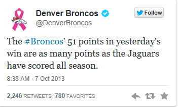 The Broncos sent out this tweet.