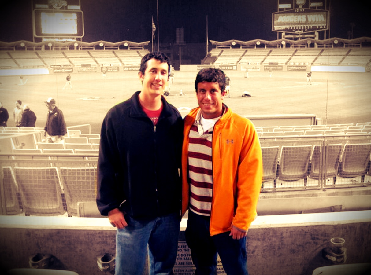 My first photo with my new apps. I used Color Splash to make just Glen and I in color at Dodger Stadium and then used a filter in Pixlromatic.