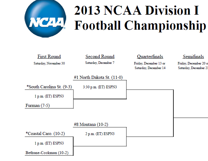Montana will face the winner of Coastal Carolina and Bethune-Cookman on December 7.