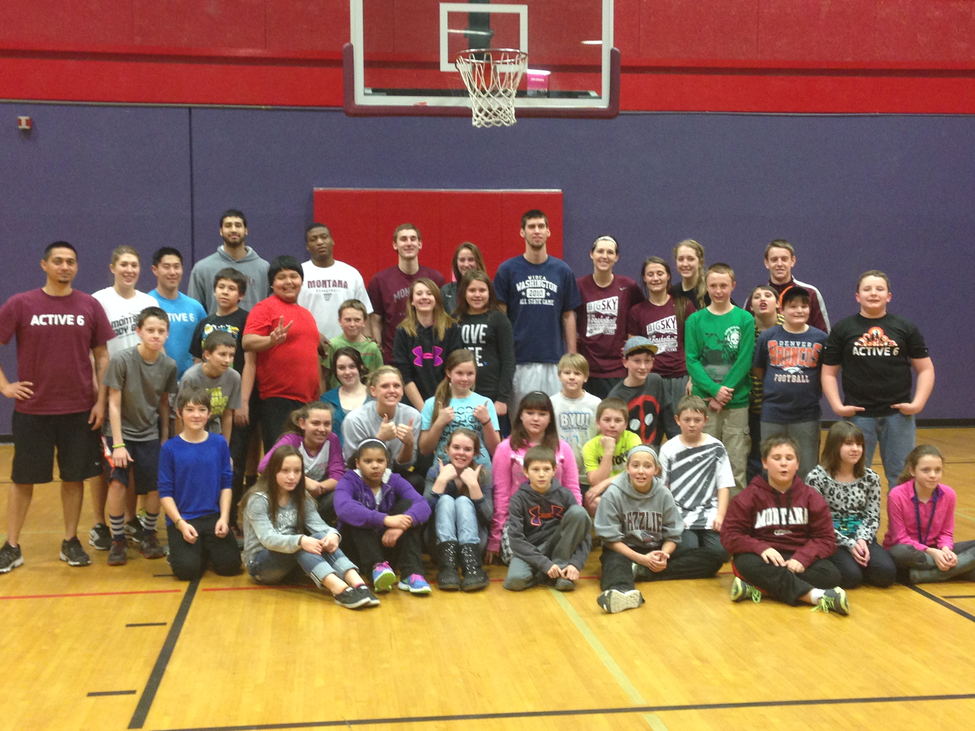 The student-athletes and Active 6 kids at the Missoula YMCA today (photo credit Brynn Molloy)