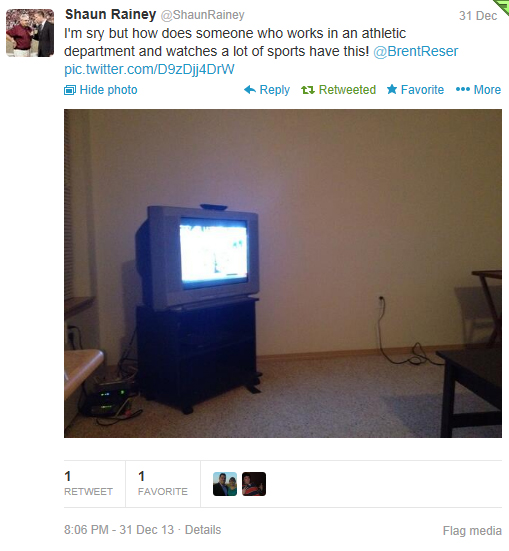 My friend Shaun Rainey called me out via Twitter on my TV when he came over to watch football.