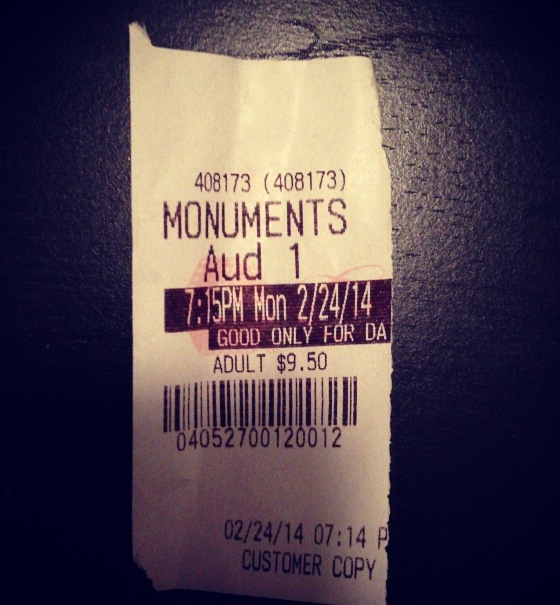"My ticket from ""Monuments Men"" on Monday night."