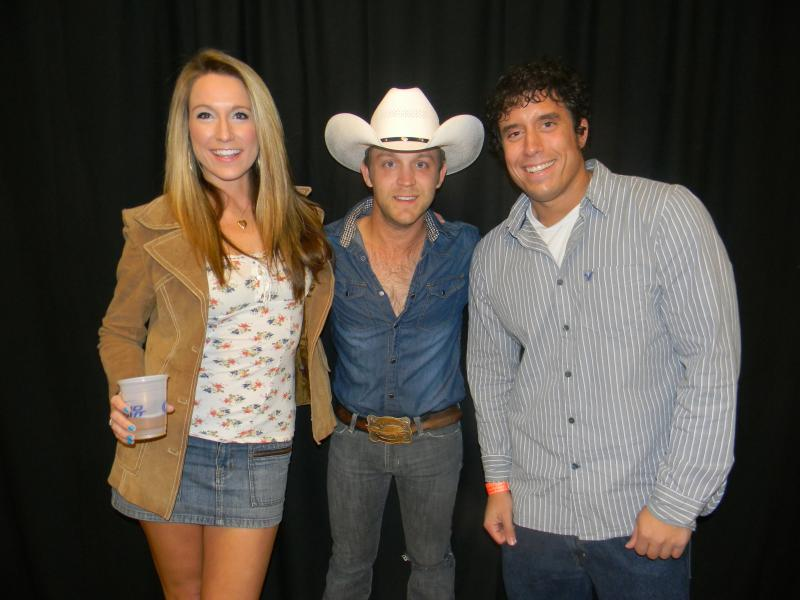 Fawn and I with Justin Moore where he opened for Miranda Lambert.