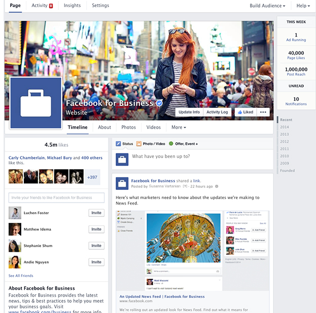This is what the new Facebook business page will look like.