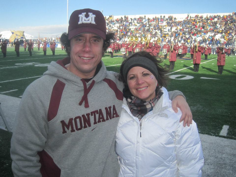Christie and I during the half at the 2011 Brawl of the Wild Griz-Cat game.