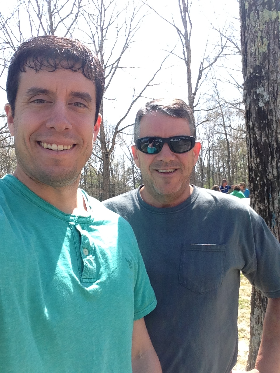 My dad and I outside a rest stop in Tennessee today.
