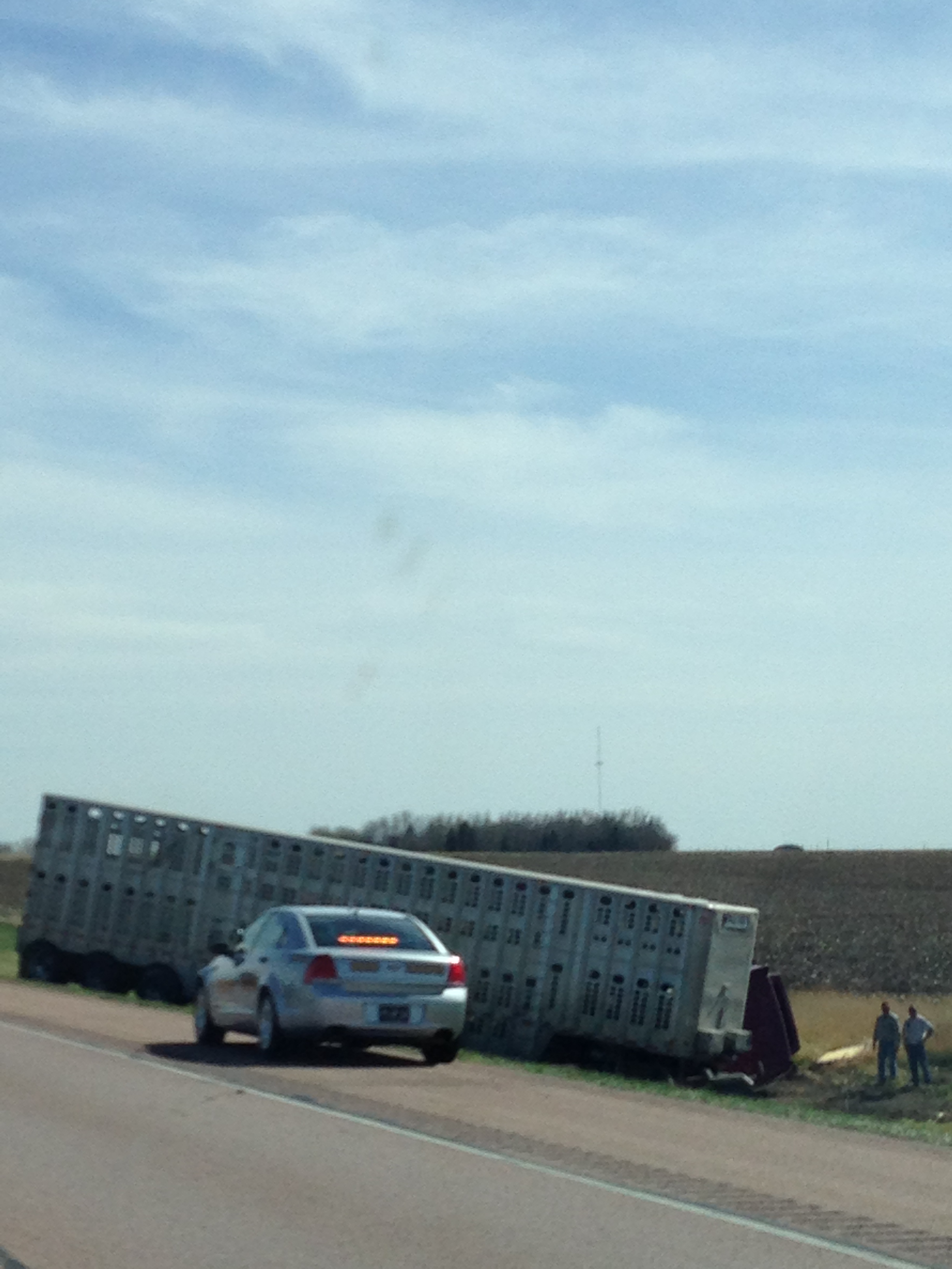While we were still in South Dakota we passed this terrible scene of a big truck totally rolled over on the side of the road.