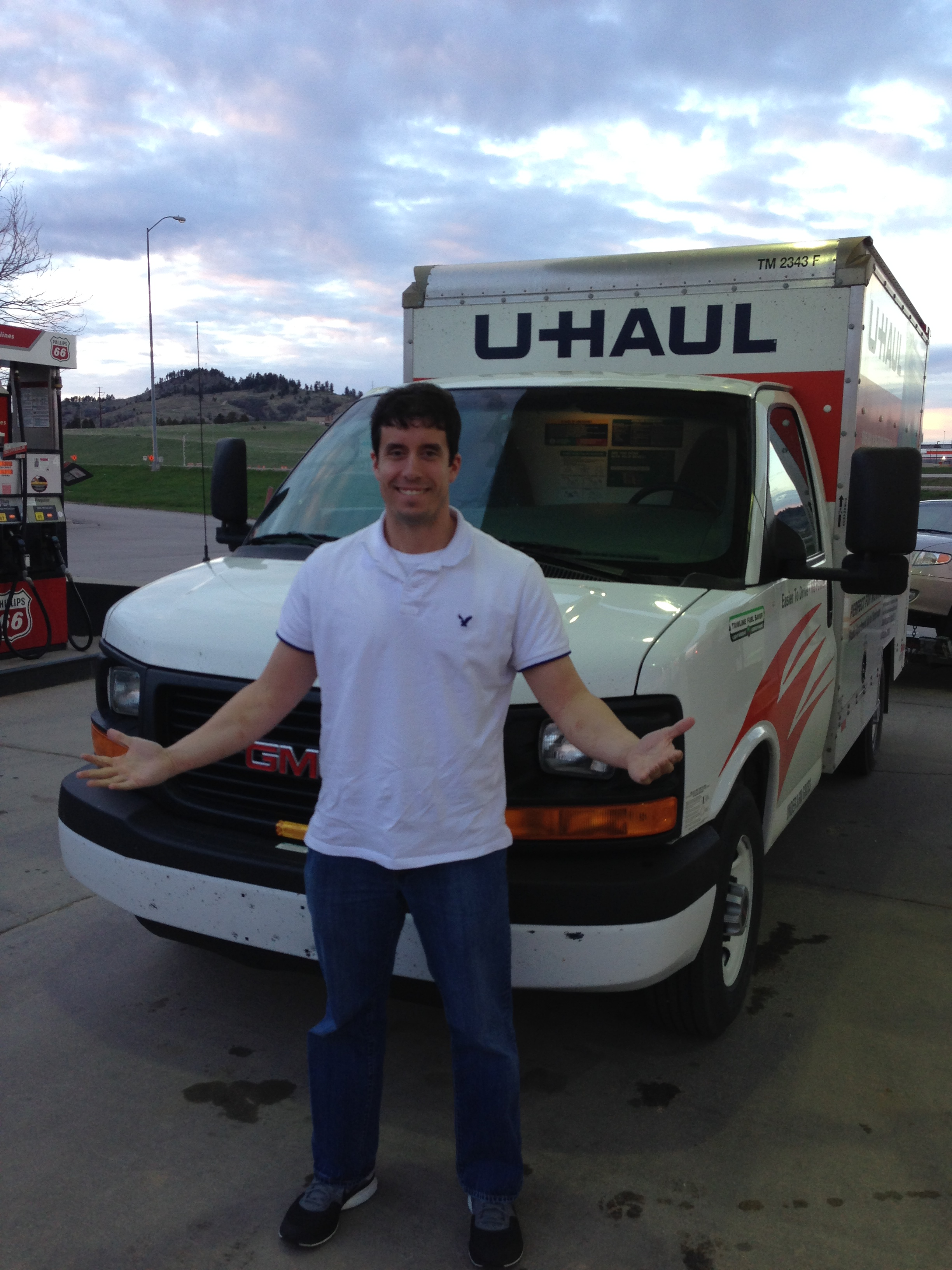 I was happy when we parked our U-Haul in Spearfish, South Dakota, this evening.
