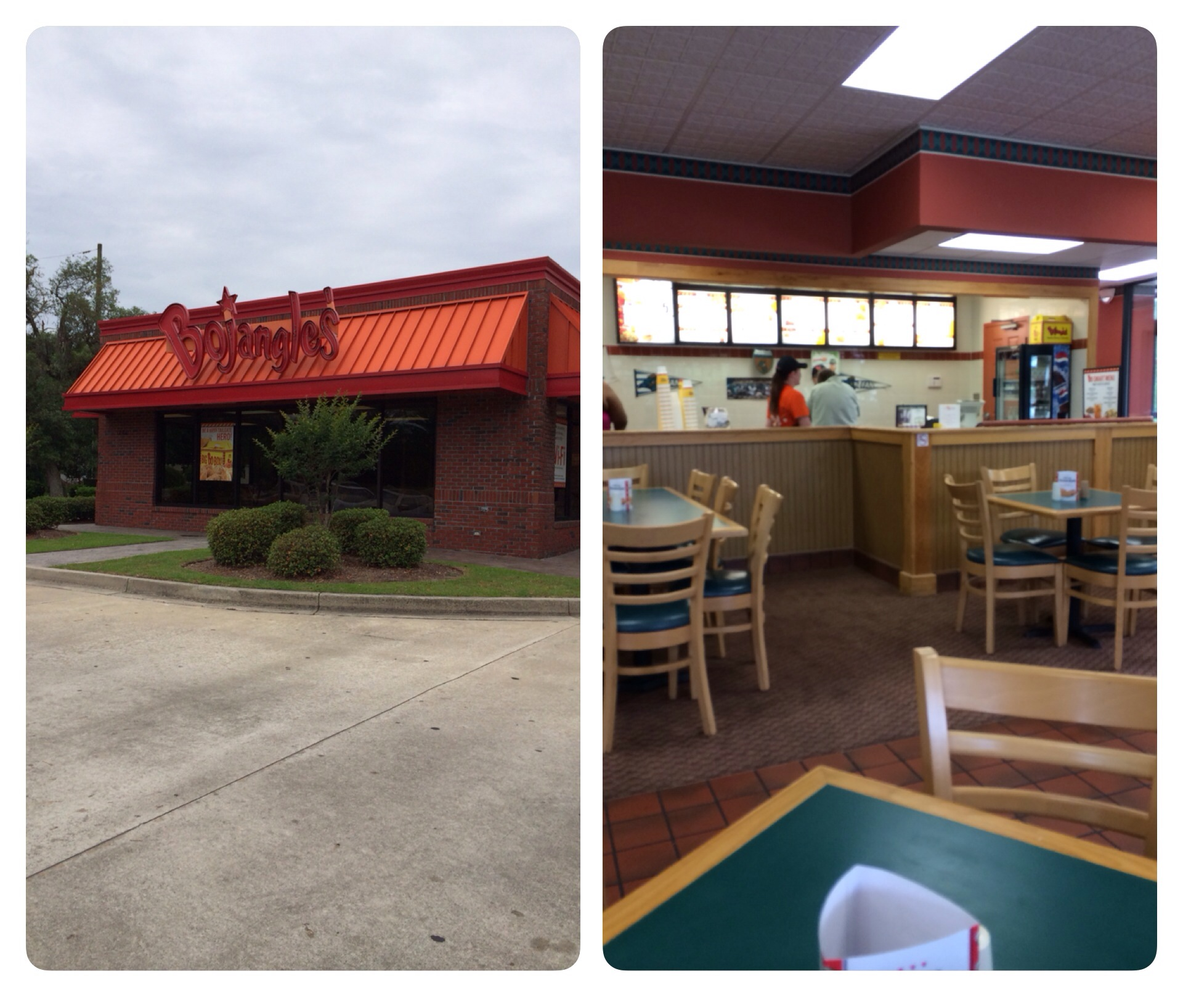 A look at the outside of the Bojangles I visited and the view from inside where I sat.