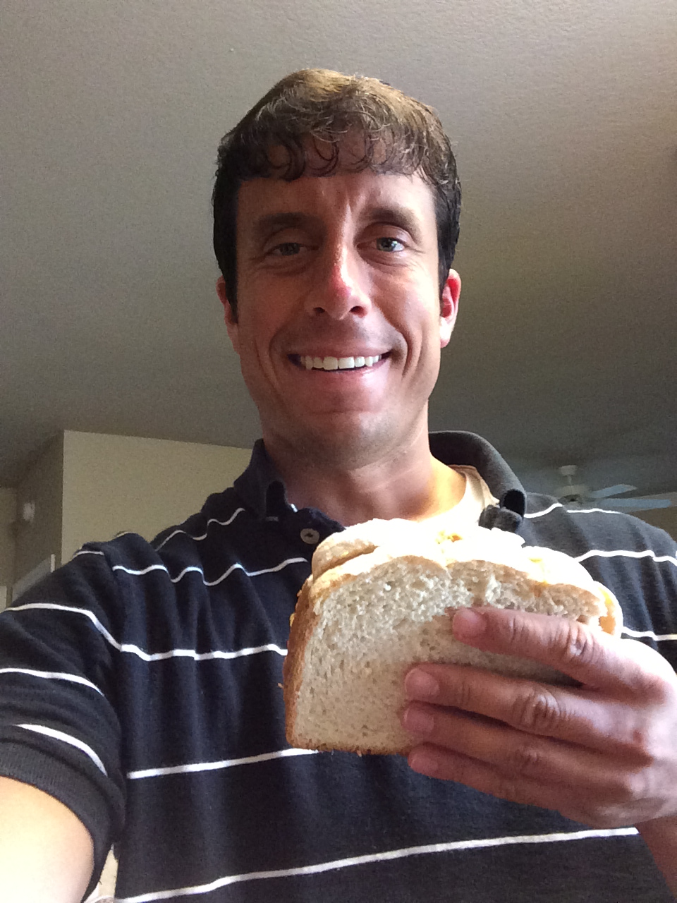 I eat half of a peanut butter sandwich for breakfast and a full peanut butter sandwich for lunch every single day.
