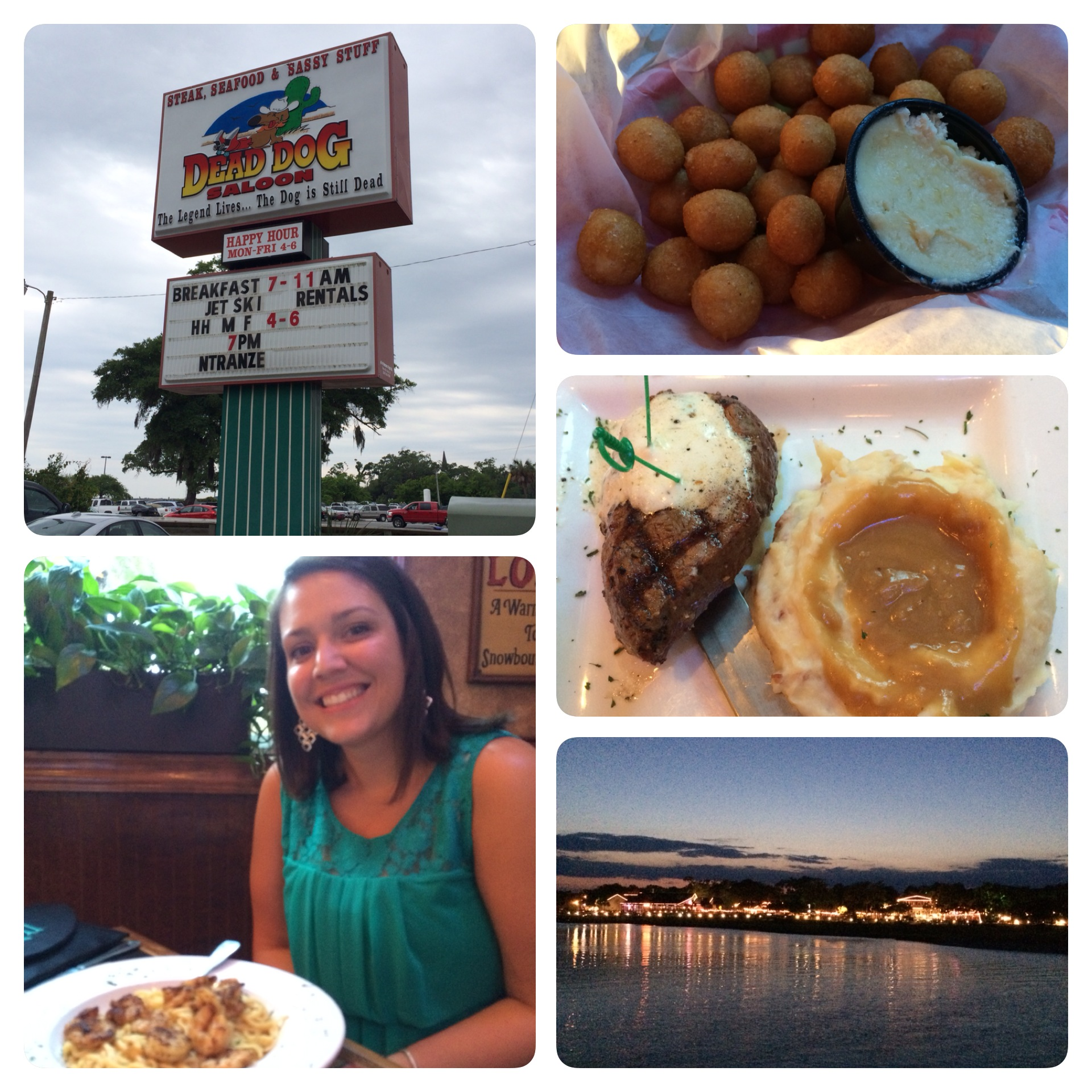 Clockwise: The hush puppies, my amazing steak and mashed potatoes, a view from the Marsh Walk, Sidney and her shrimp pasta, the Dead Dog Saloon sign!