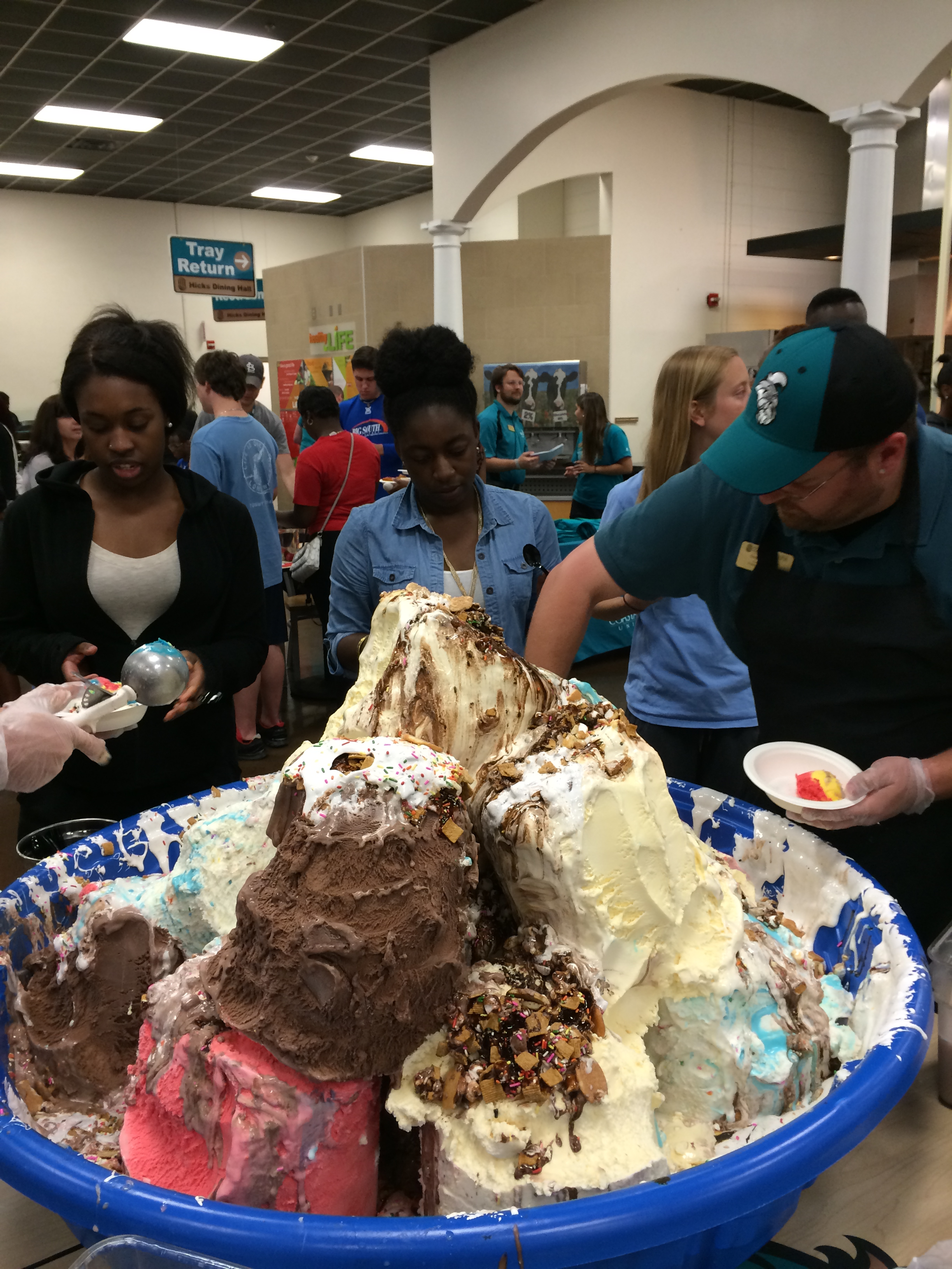 This wasn't even the ice cream mountain at full size. In fact, this was what it looked like over an hour into the event.