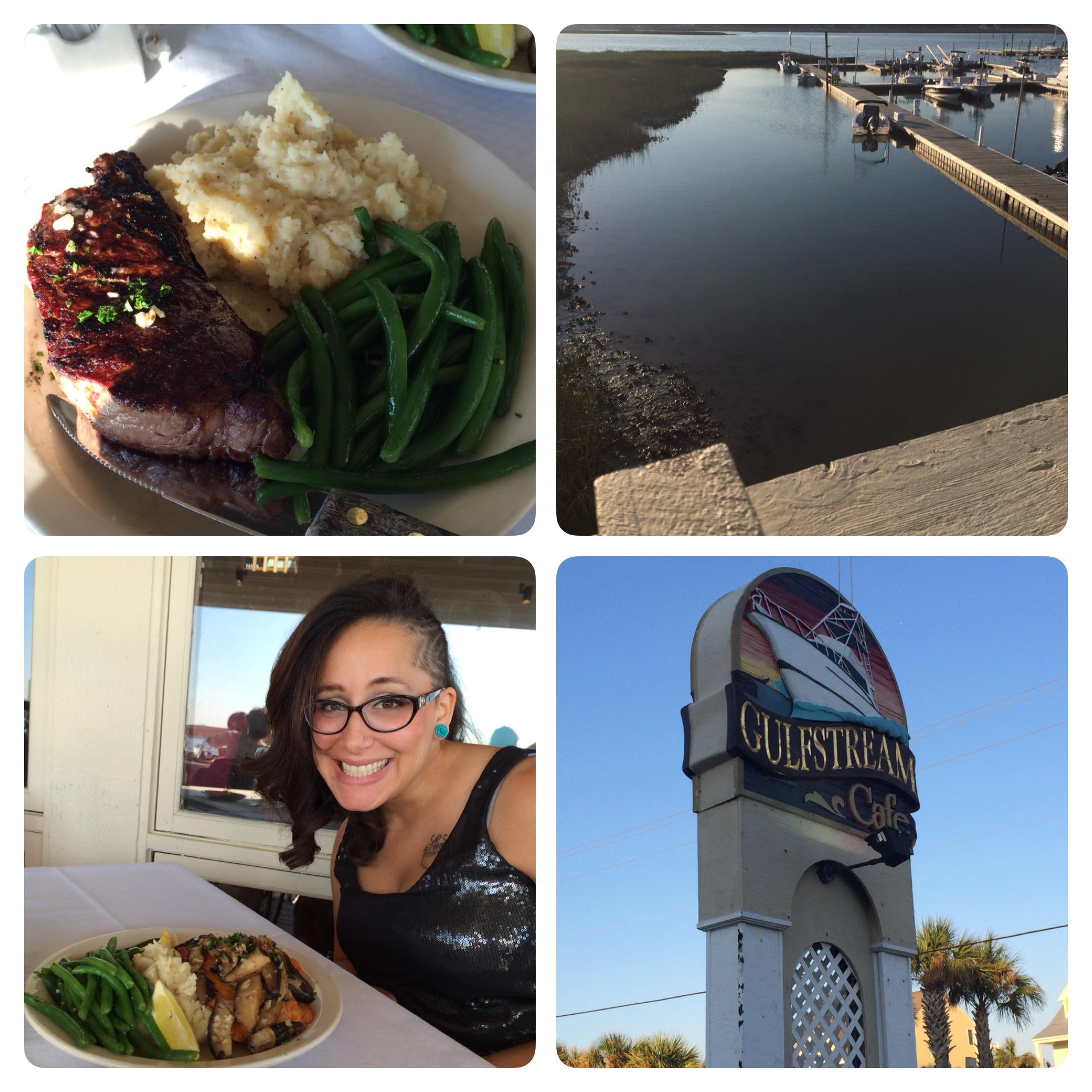 It was a very enjoyable dinner at the Gulfstream Café (clockwise: The view from the deck, the restaurant sign, Veronica with her salmon dinner, my steak!).