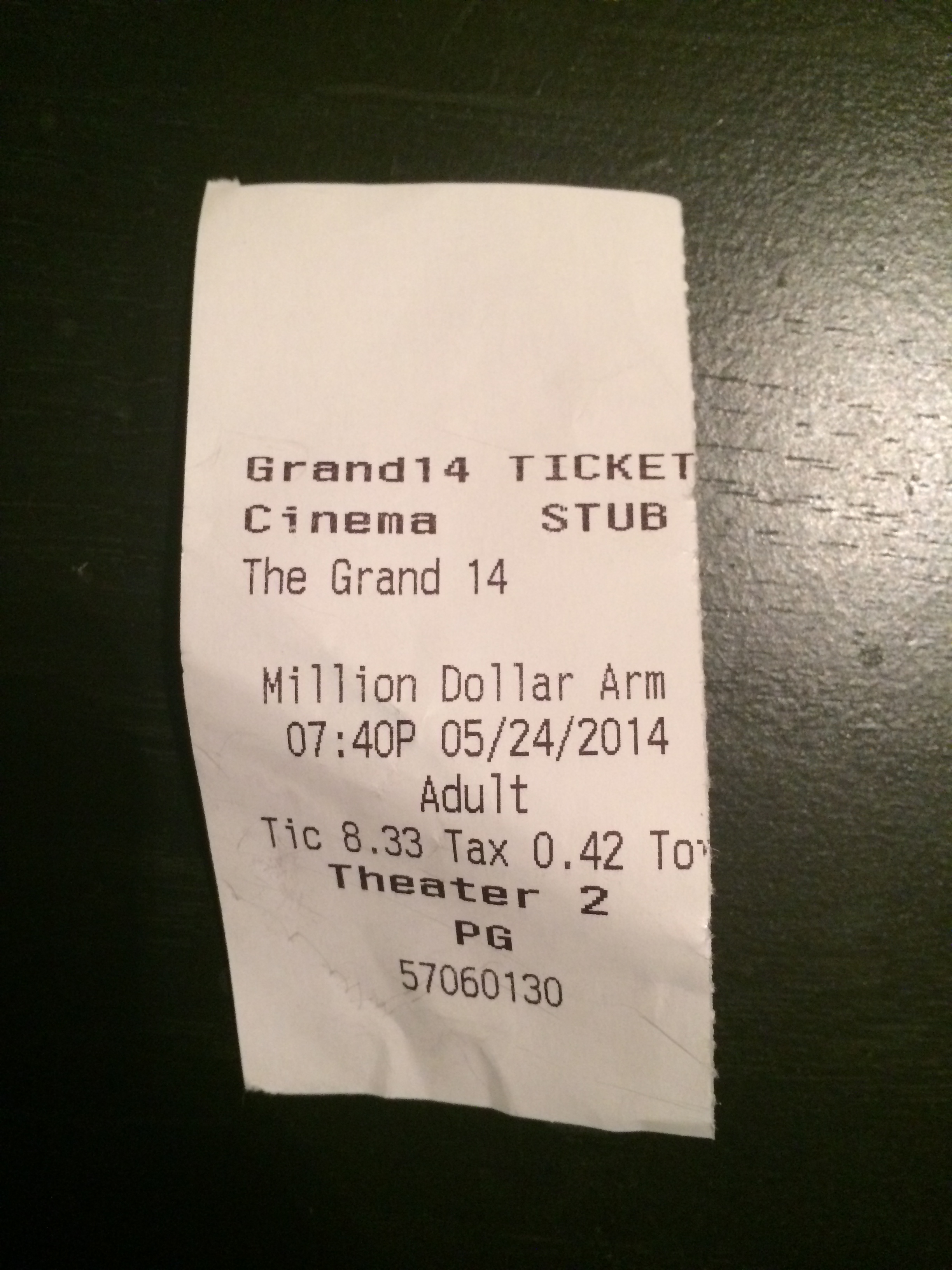 Proof that I actually went and saw the movie.