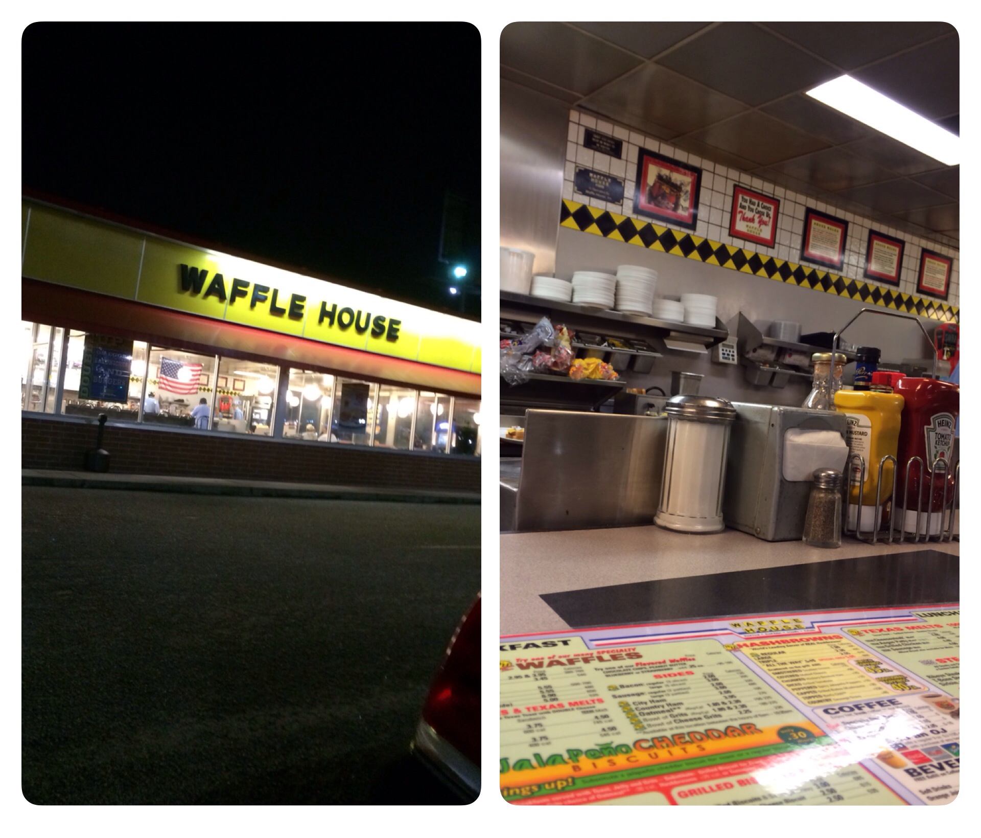 A look at the exterior of the Waffle House I visited and where I sat at the counter.