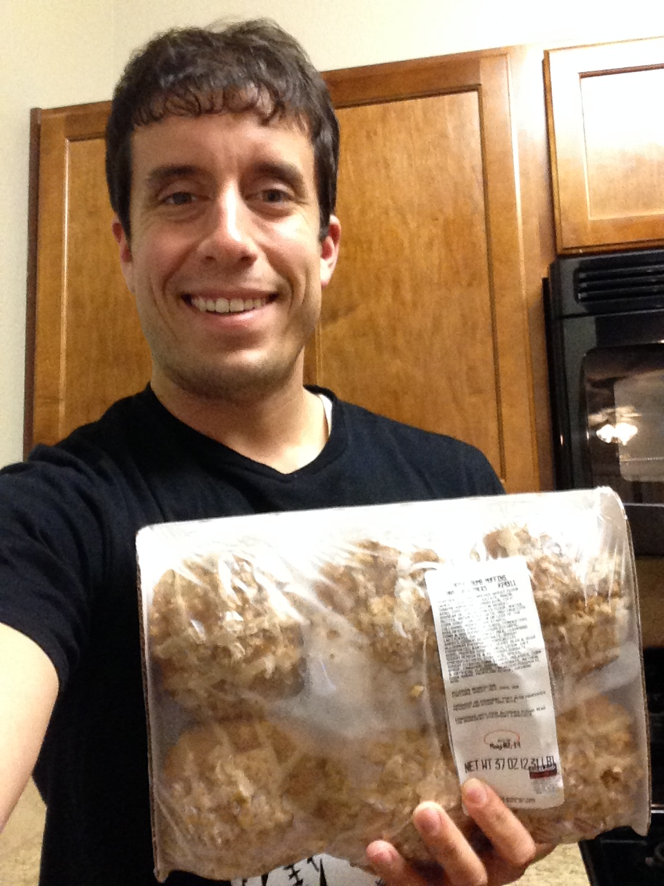 Me with some frozen Apple Crumb Costco muffins.