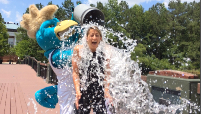 Coastal Carolina University staff member Diane Fabiano took the Cold Water Challenge with an assist from Chauncey.