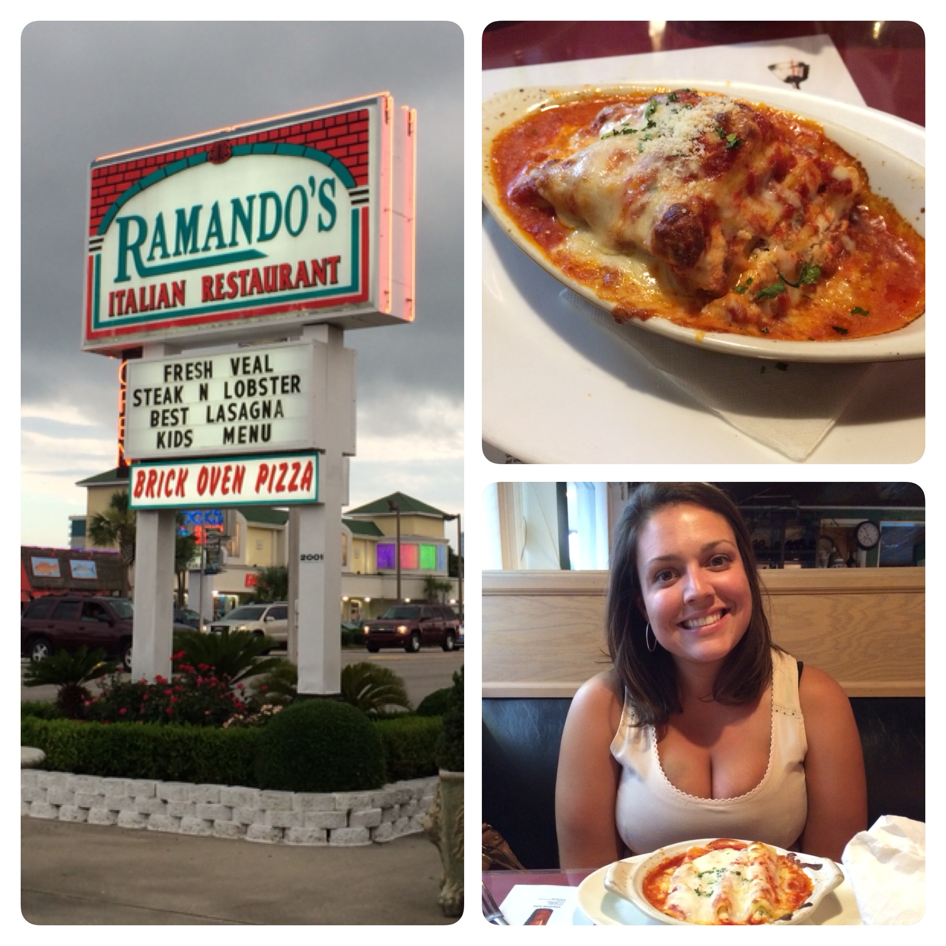 The Ramando's sign, my lasagna, and Sidney with her manicotti.