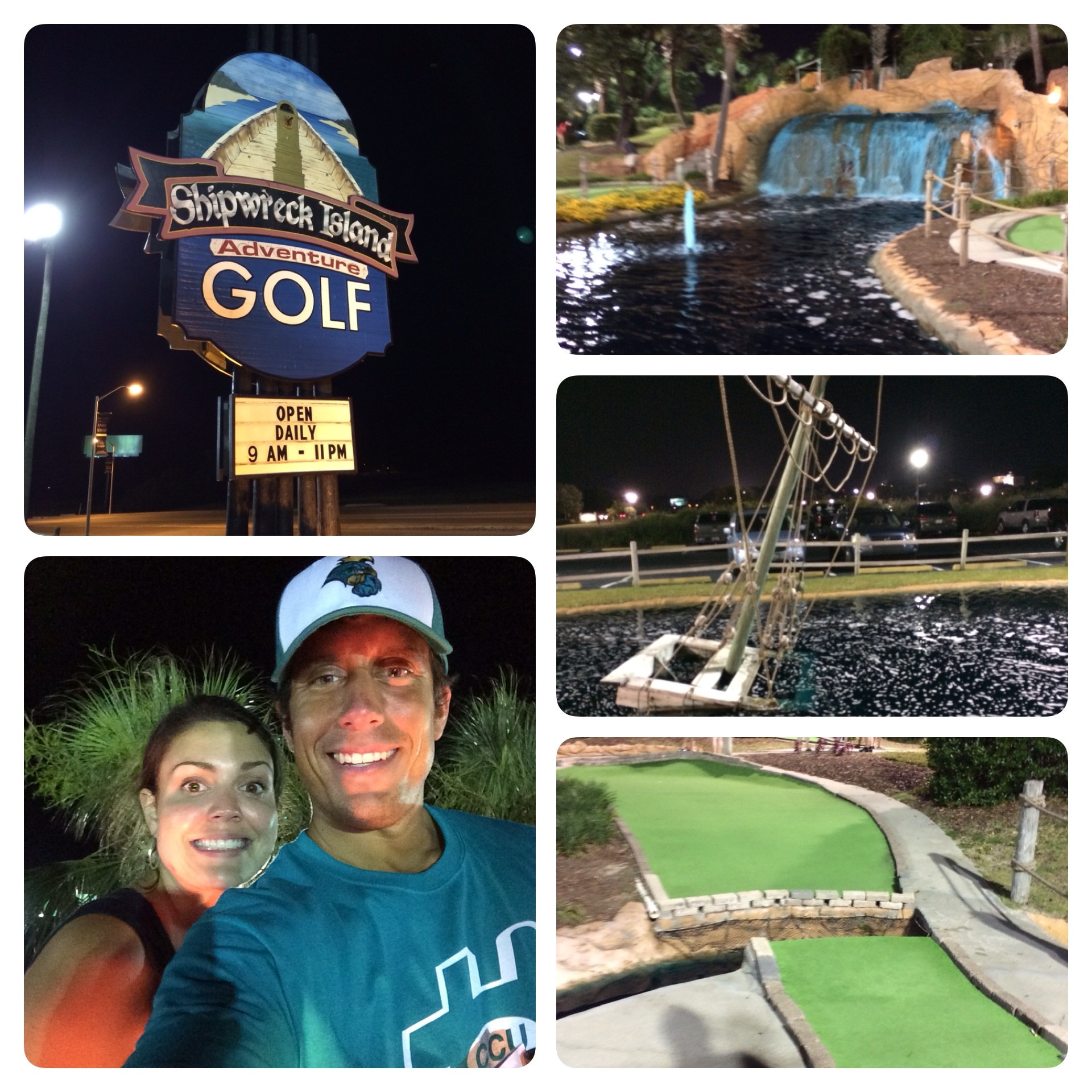Playing putt putt under the lights is a cool experience. Shipwreck is a tough course!