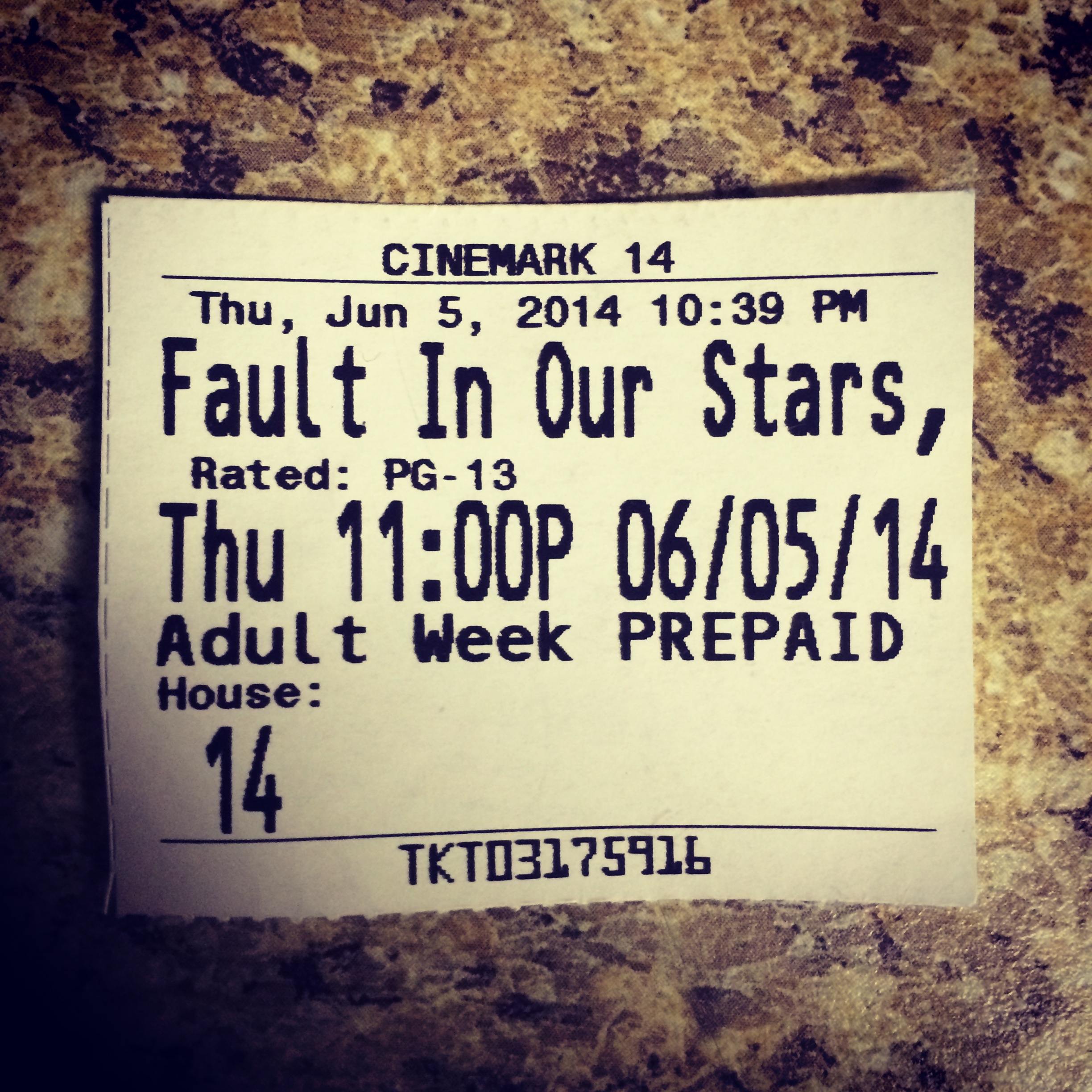 "On Thursday evening I saw ""The Fault in Our Stars."""