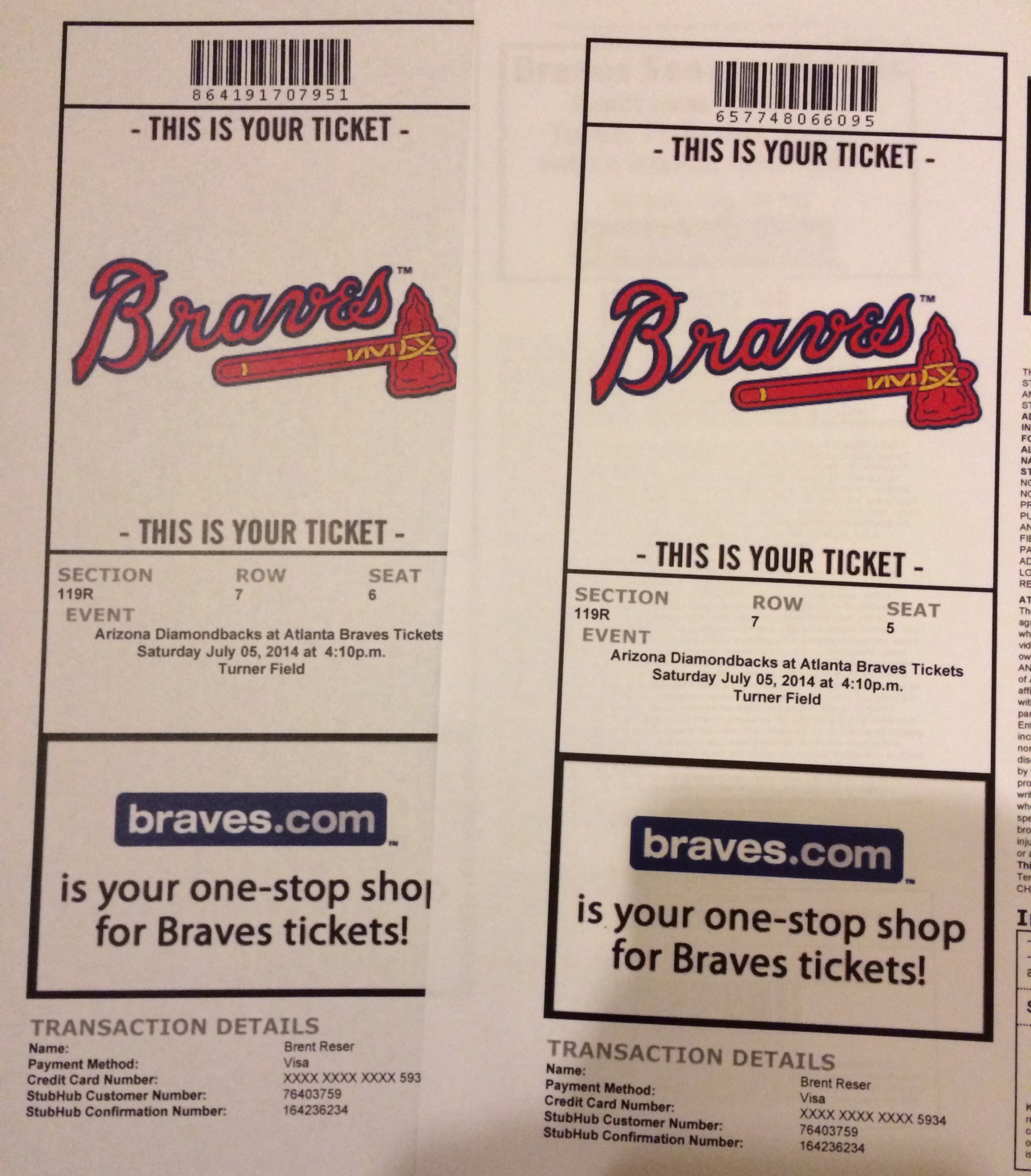 Sidney and I will be attending today's Atlanta Braves game.