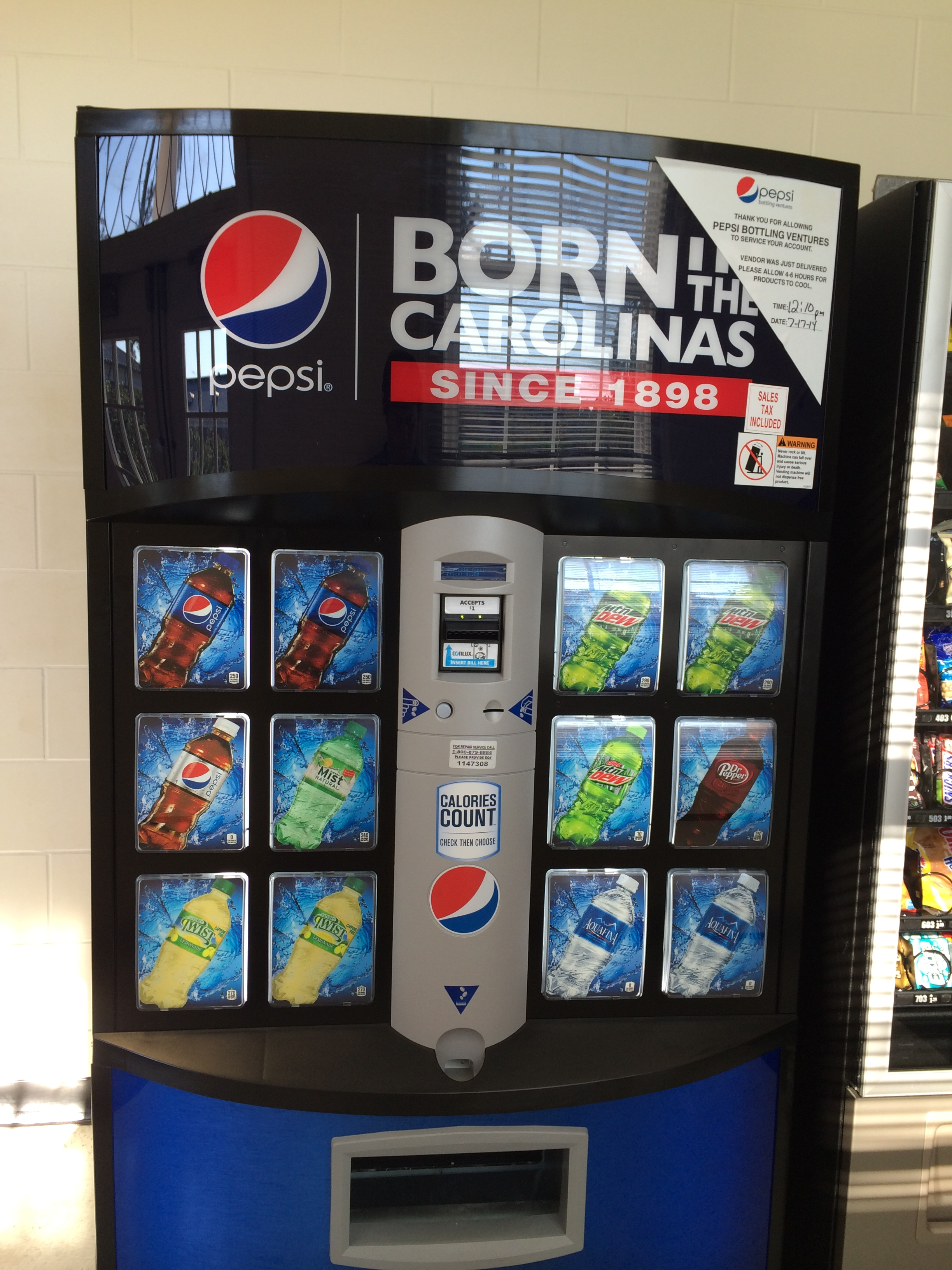 One of our new Pepsi machines on campus. This one can be found in  the building I work in.
