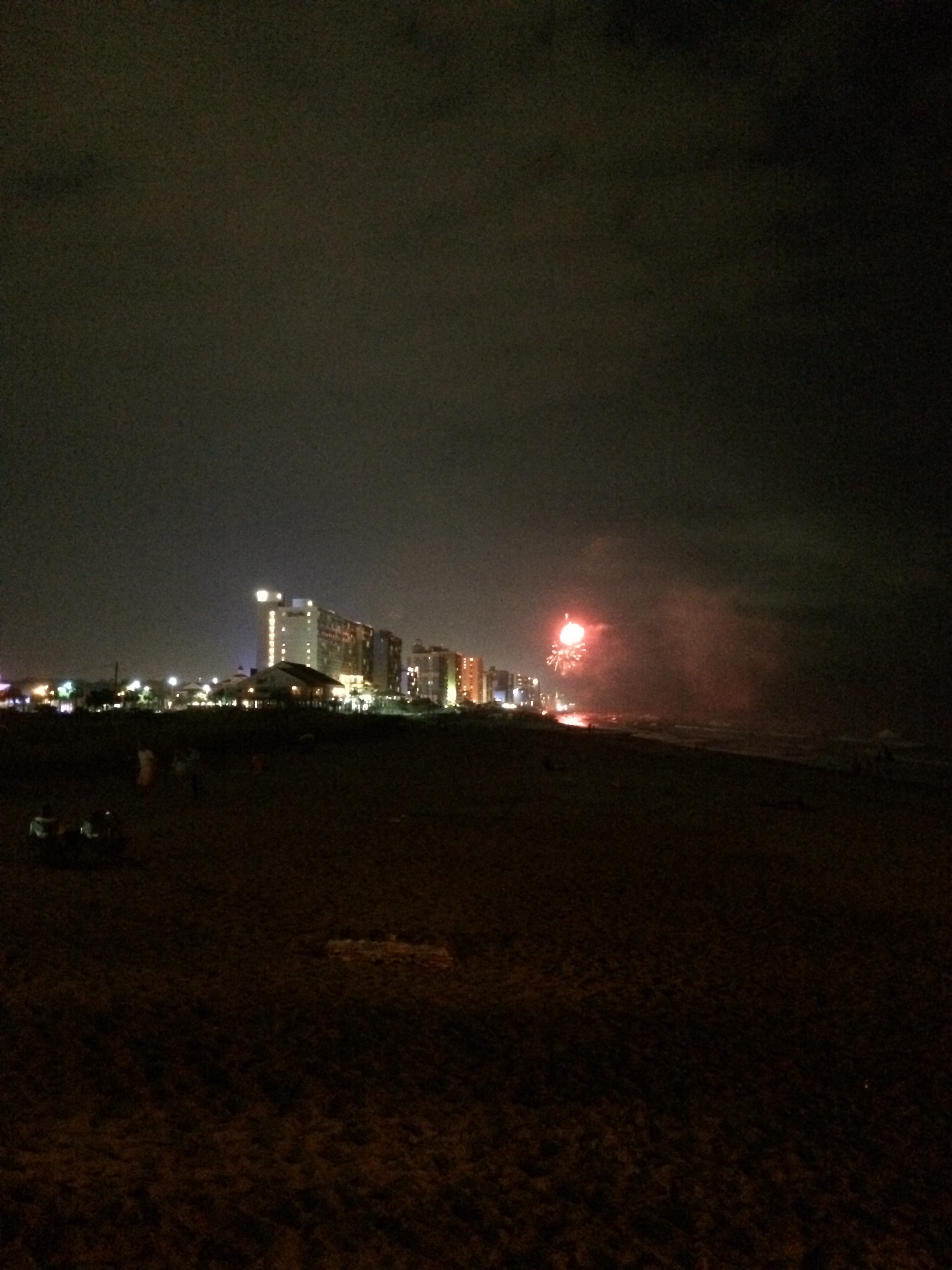 A firework goes off in the distance as Sidney and I watched from the pier of the beach.