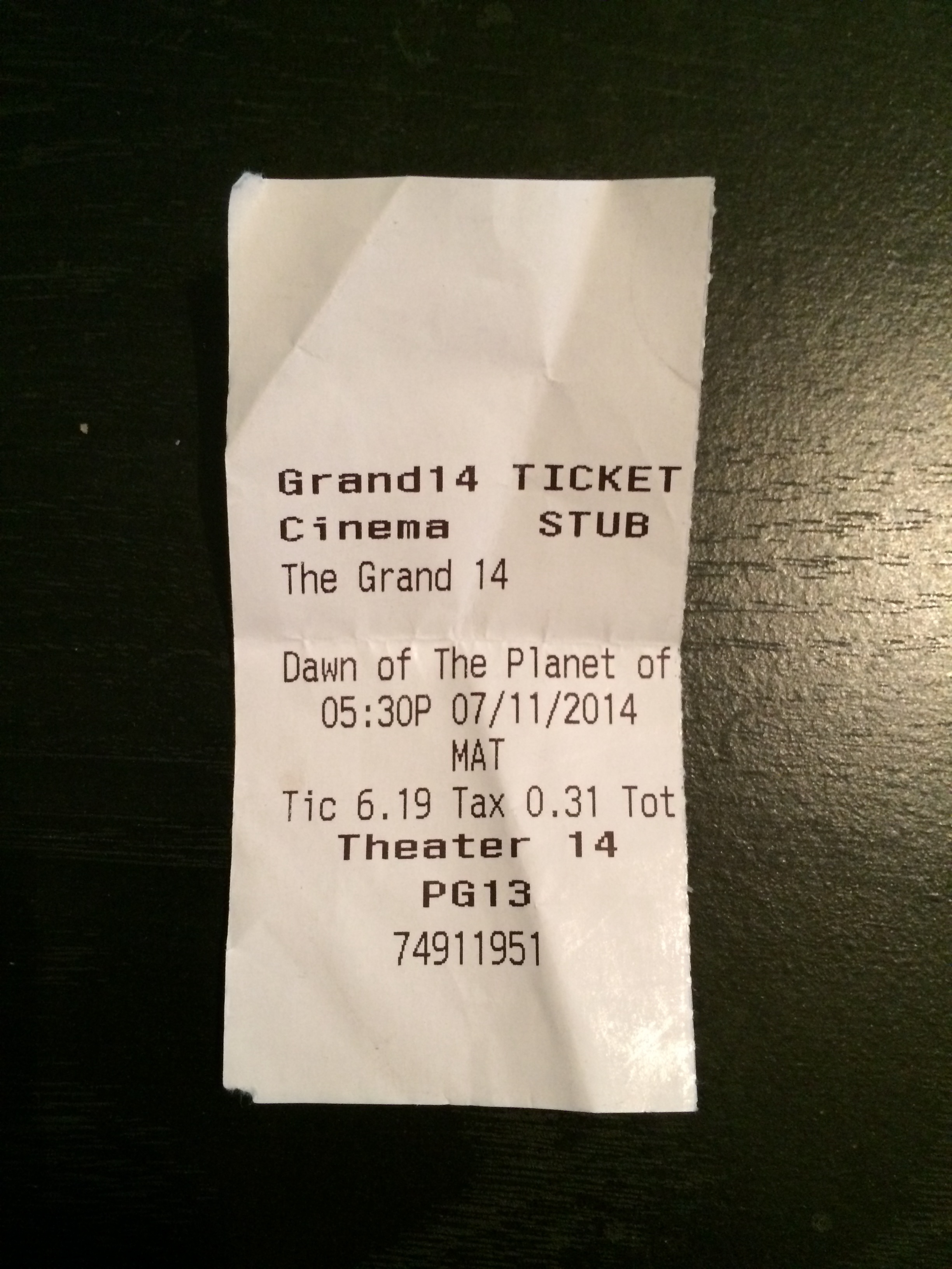 "My ticket for ""Dawn of the Planet Apes"" from last Friday."