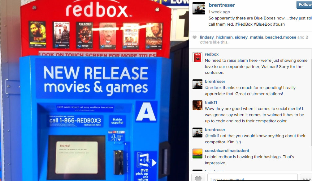Redbox quickly responded to my Instagram post.