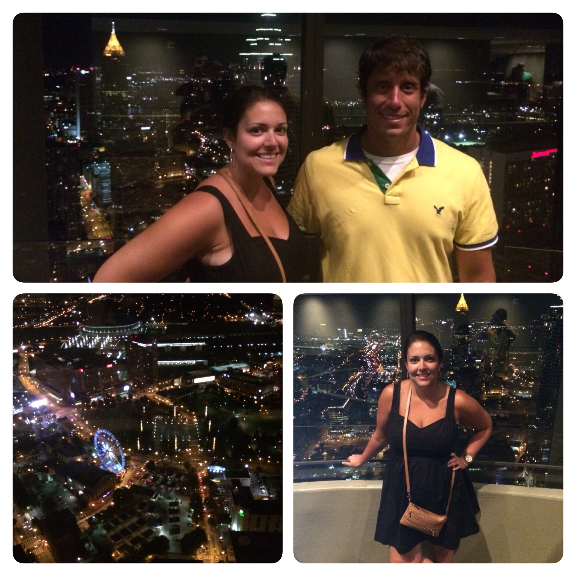 Sidney and I were at the top of the city at the Sundial restaurant.