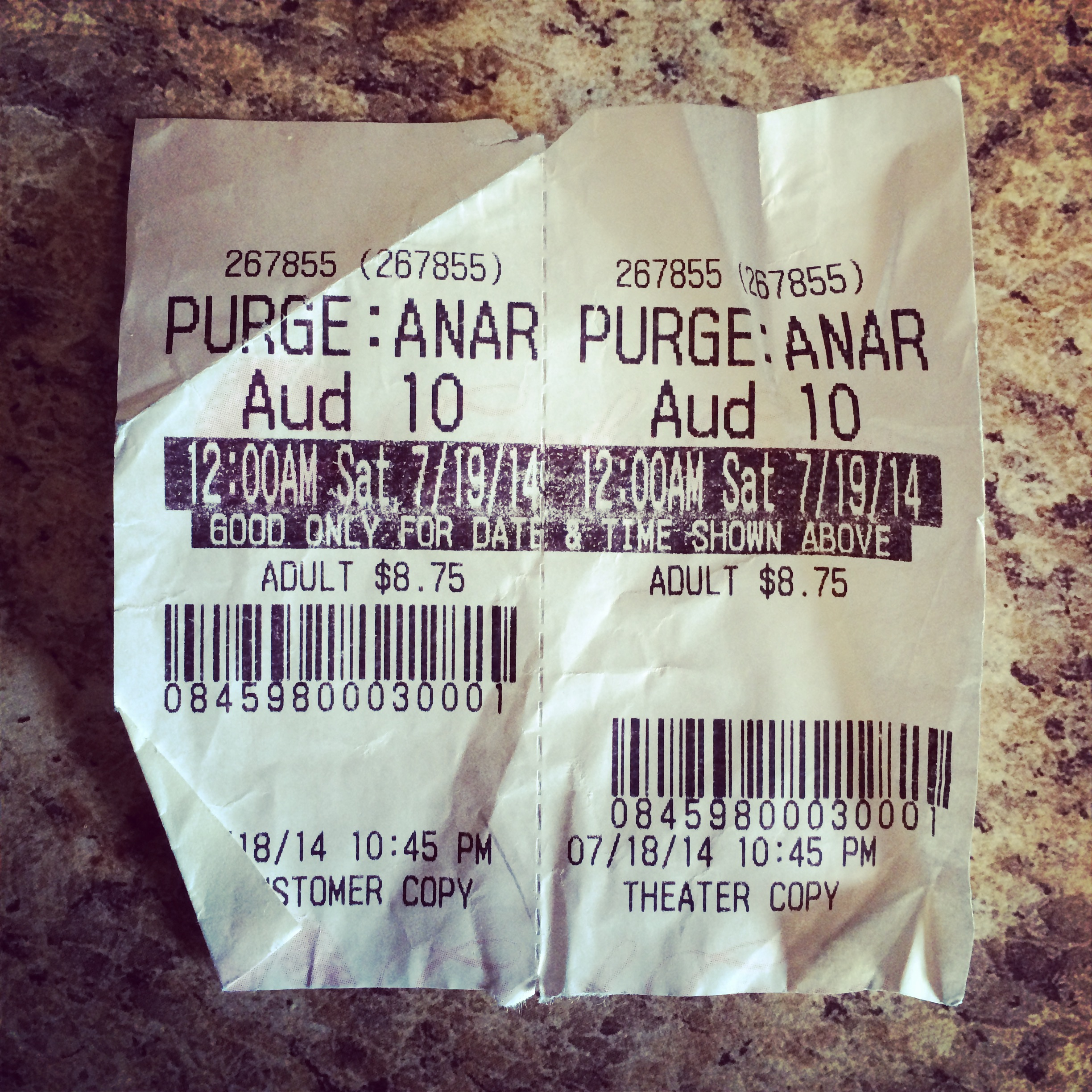 "Our movie tickets for ""The Purge: Anarchy"" on Friday night."
