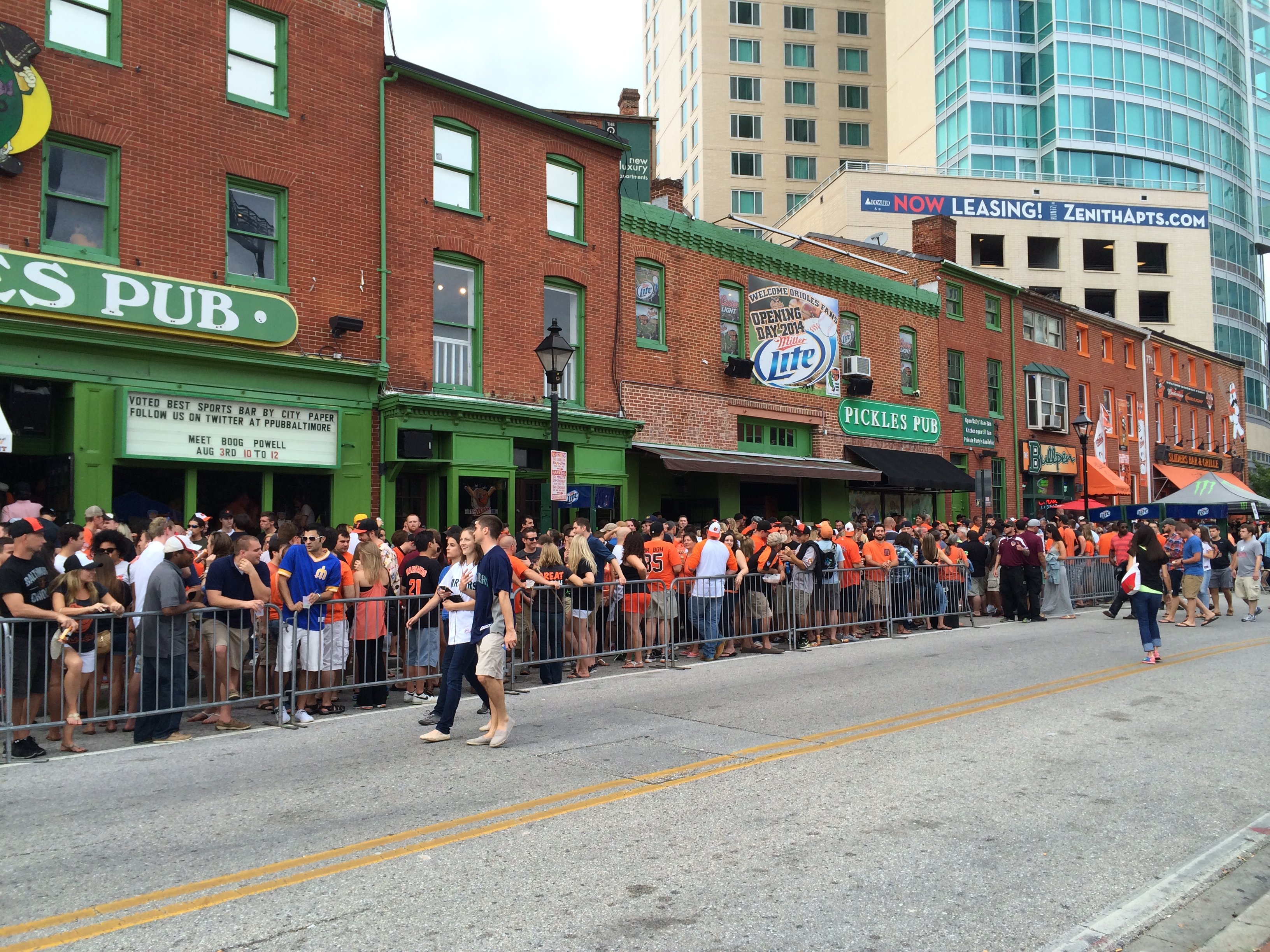 The bar district right outside of Camden Yards.
