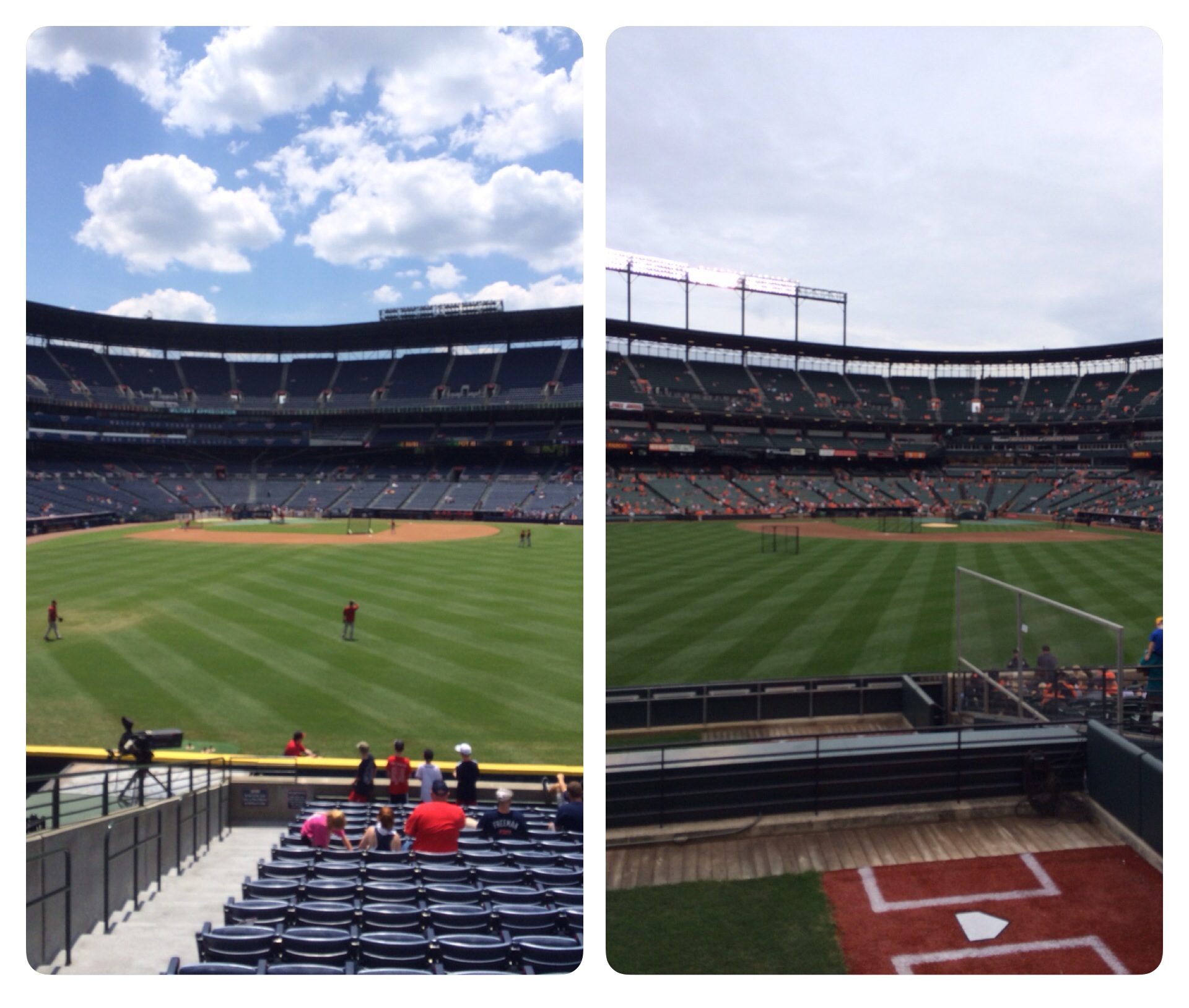 Pictures I took from both Turner Field and Camden Yards. Both good ballparks.