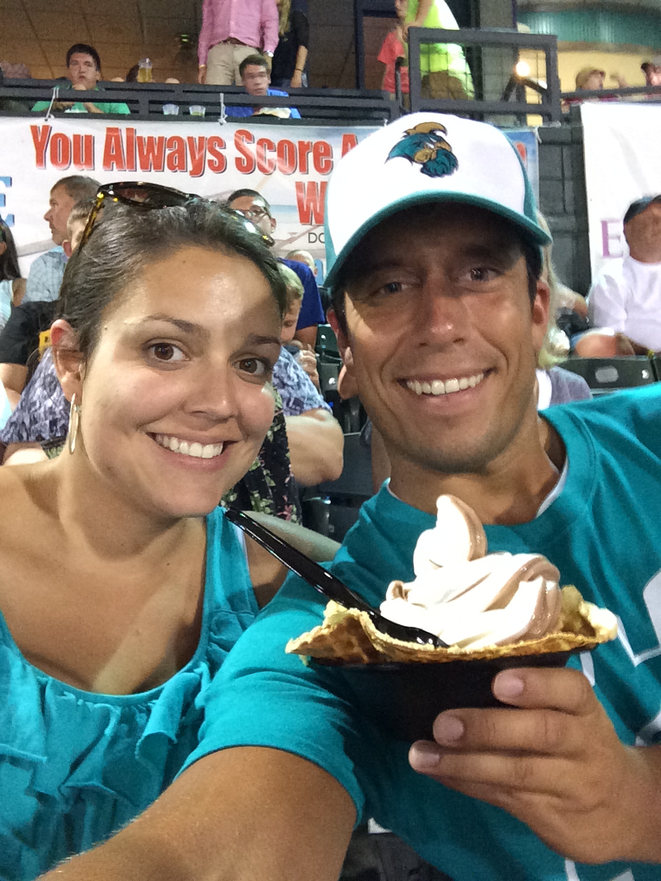This past Thursday at the Pelicans game, with some help from Sidney, I ate this delicious ice cream dish. The waffle bowl was made right in front of my own eyes.